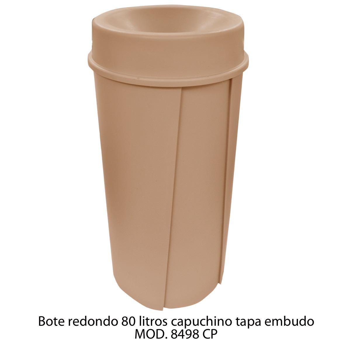 Bote de basura redondo de 80 litros con tapa embudo color cafe modelo 8498 CP Sablón