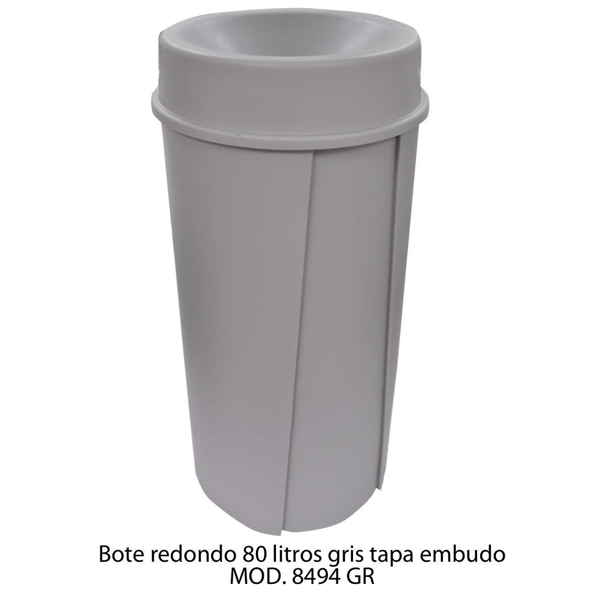 Bote de basura redondo de 80 litros con tapa embudo color gris modelo 8494 GR Sablón
