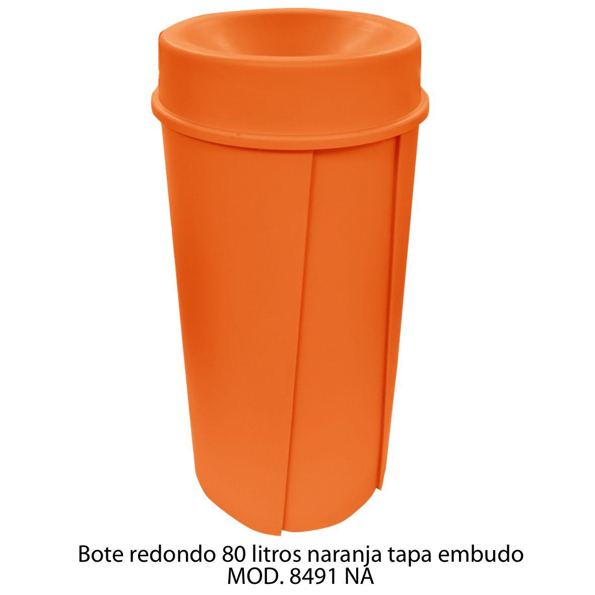Bote de basura redondo de 80 litros con tapa embudo color naranja modelo 8491 NA Sablón