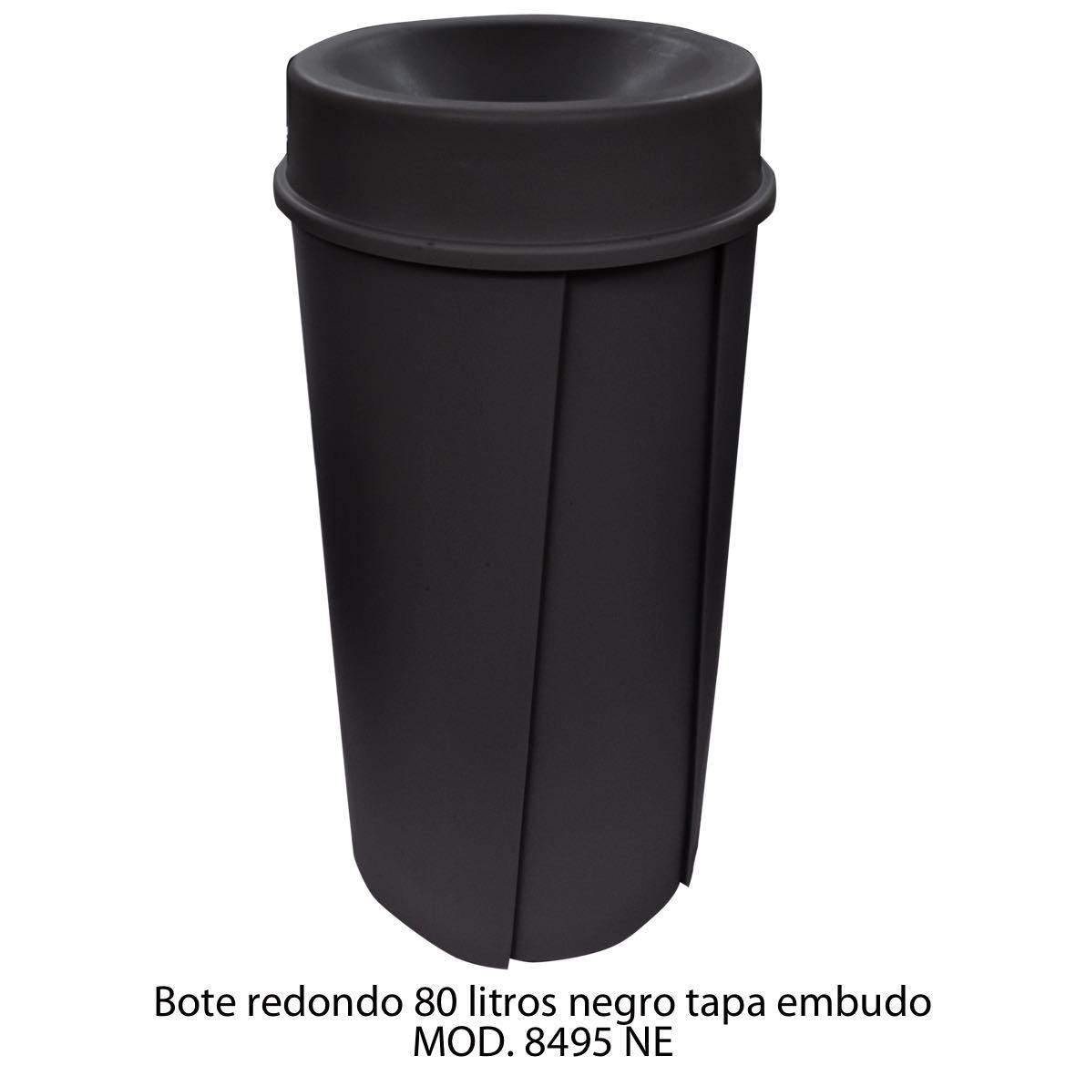 Bote de basura redondo de 80 litros con tapa embudo color negro modelo 8495 NE Sablón