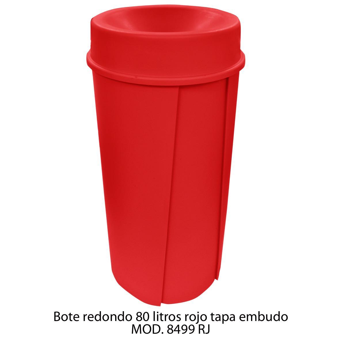 Bote de basura redondo de 80 litros con tapa embudo color rojo modelo 8499 RJ Sablón