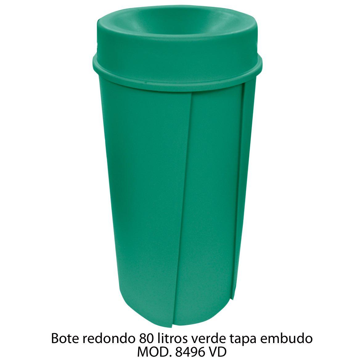 Bote de basura redondo de 80 litros con tapa embudo color verde modelo 8496 VD Sablón