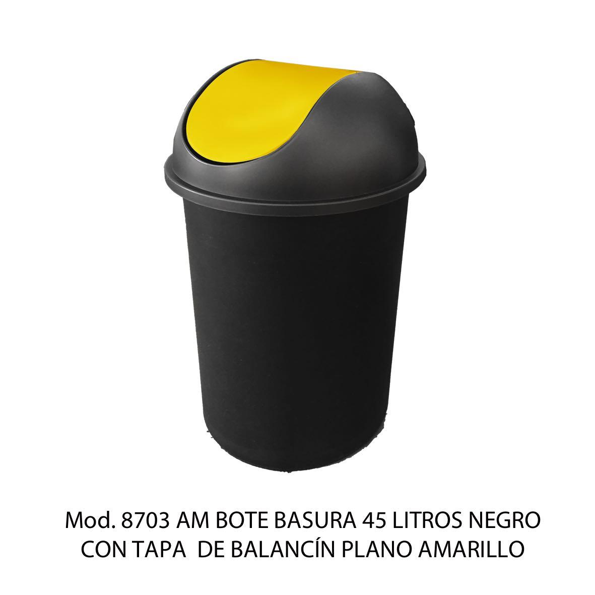 Bote de basura redondo negro de 45 litros con tapa amarillo tipo balancín liso modelo 8703 AM Sablón