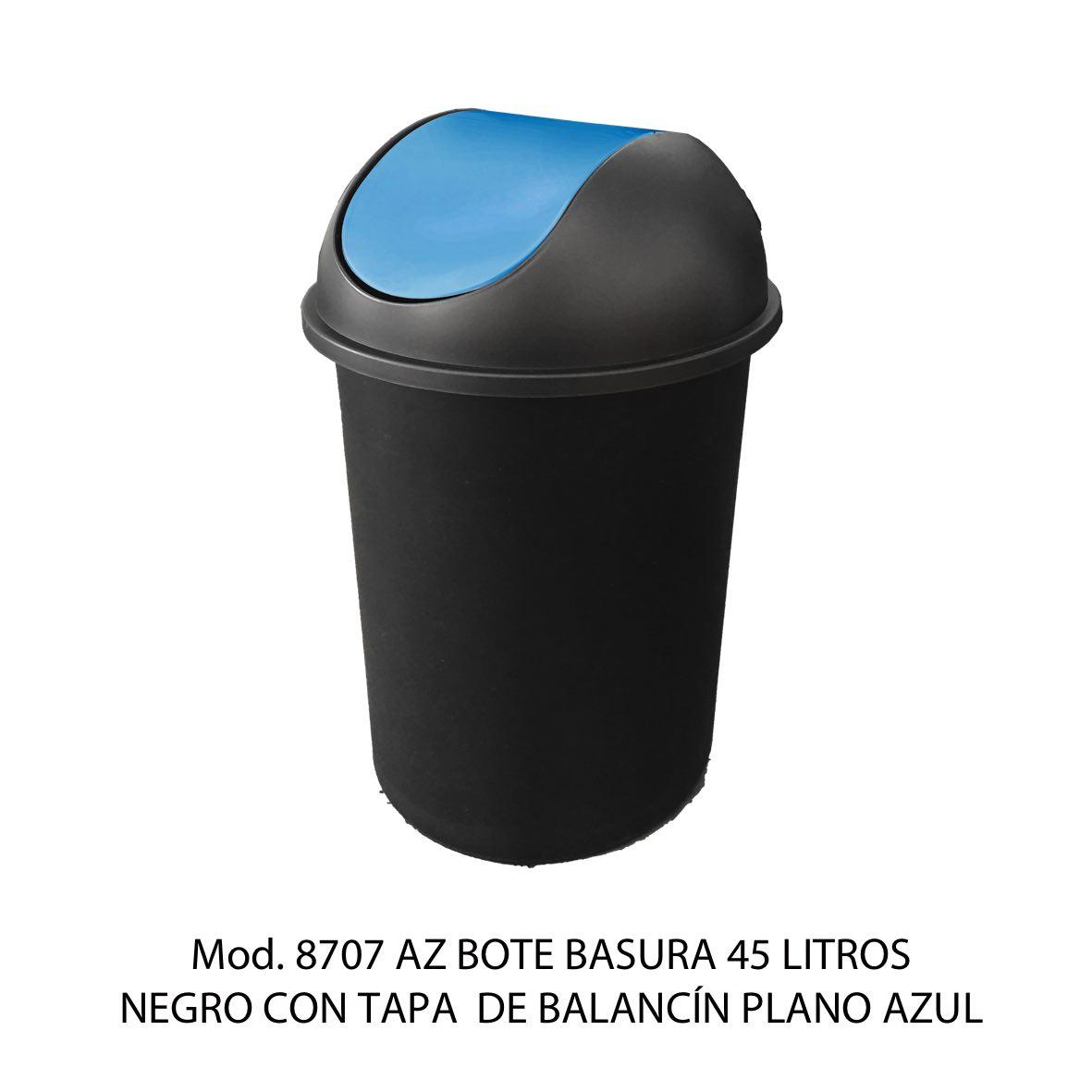 Bote de basura redondo negro de 45 litros con tapa azul tipo balancín liso modelo 8707 AZ Sablón