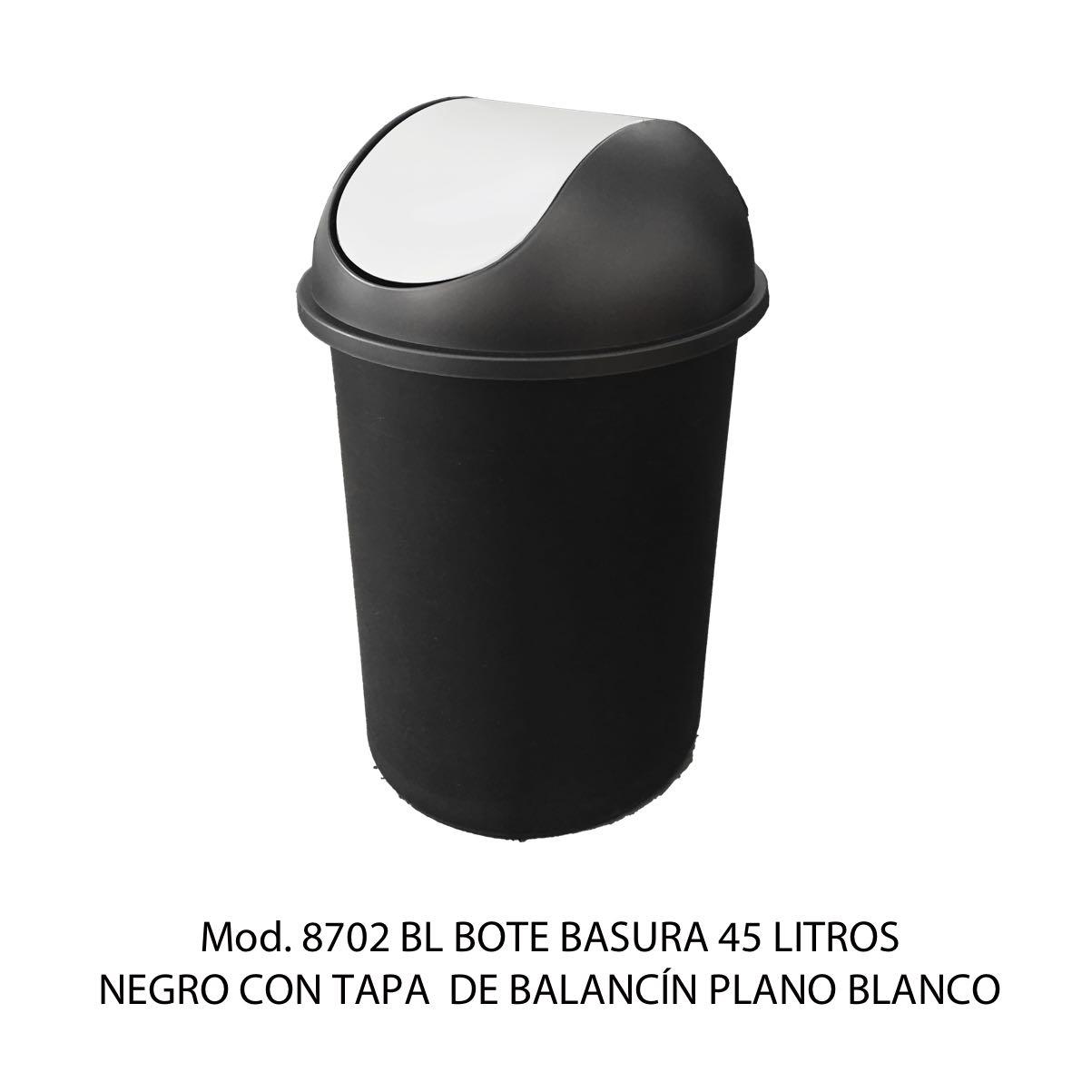 Bote de basura redondo negro de 45 litros con tapa blanco tipo balancín liso modelo 8702 BL Sablón