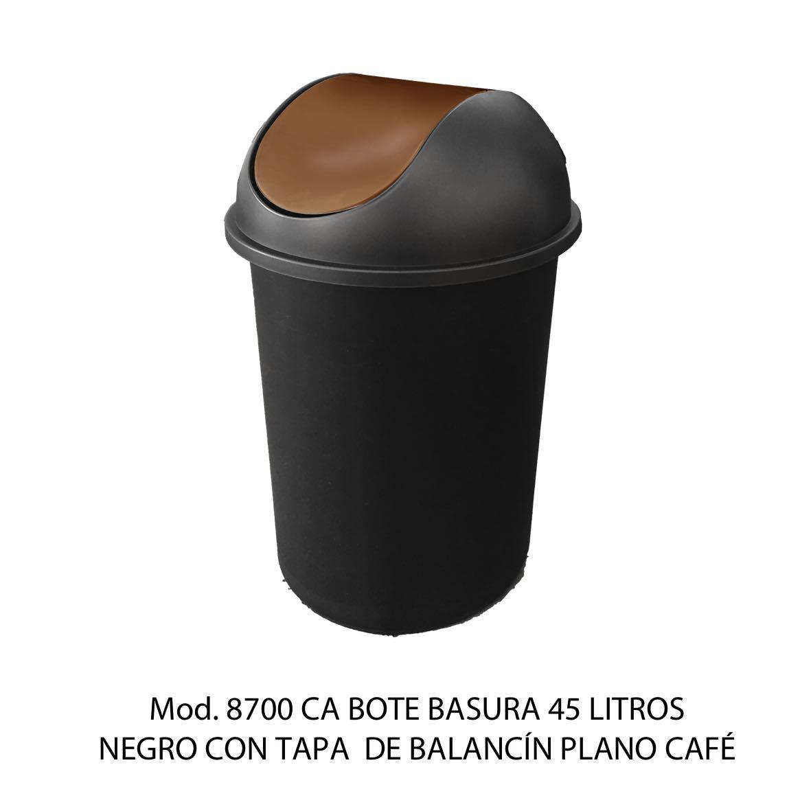 Bote de basura redondo negro de 45 litros con tapa cafe tipo balancín liso modelo 8700 CA - Sablón