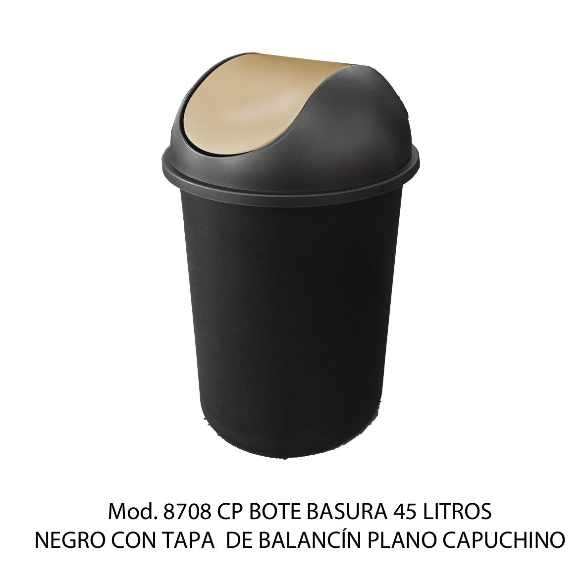 Bote de basura redondo negro de 45 litros con tapa capuchino tipo balancín liso modelo 8708 CP Sablón