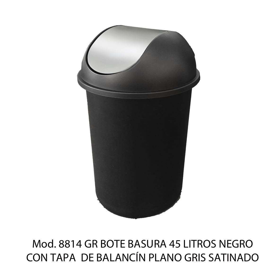 Bote de basura redondo negro de 45 litros con tapa gris satinado tipo balancín liso modelo 8814 GR Sablón