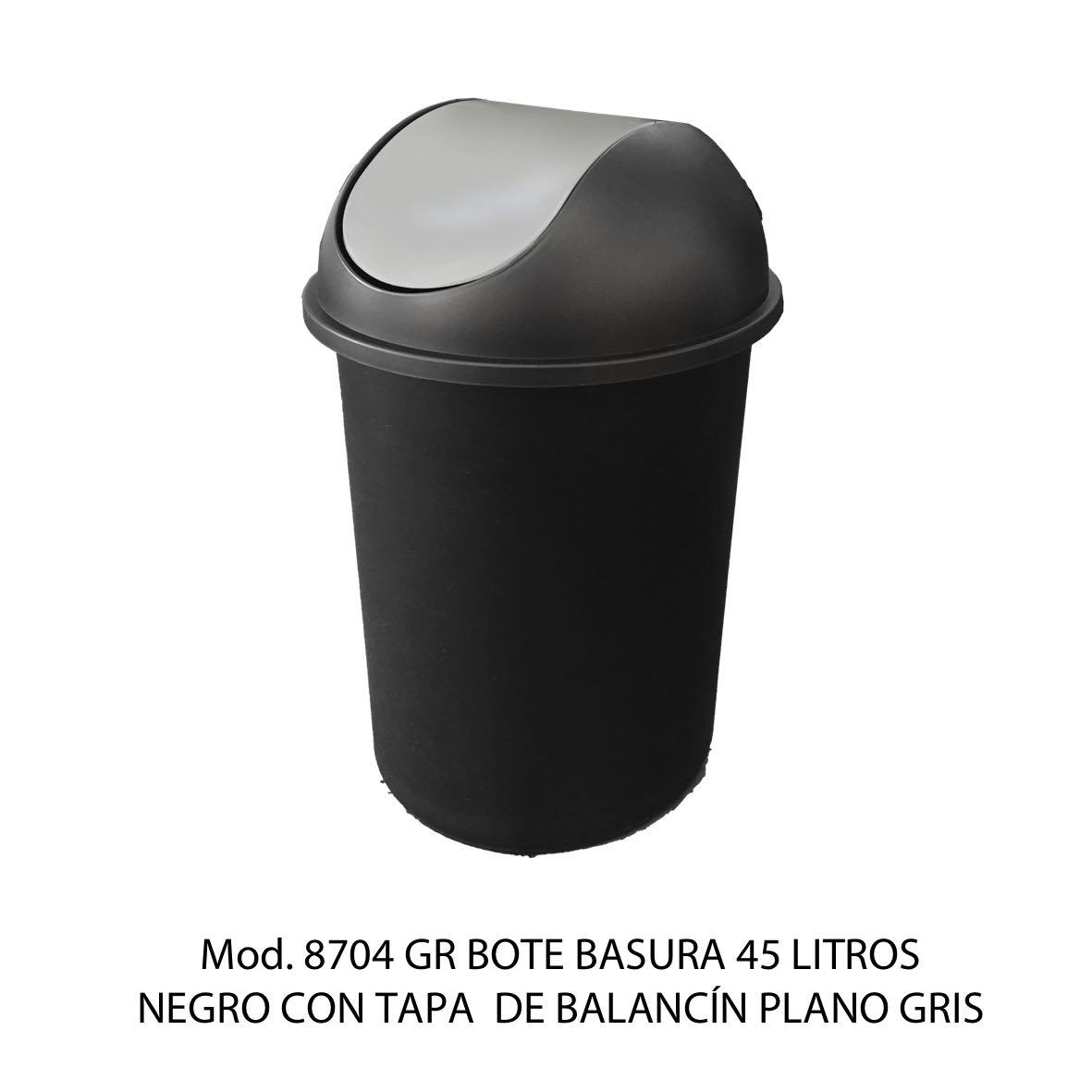 Bote de basura redondo negro de 45 litros con tapa gris tipo balancín liso modelo 8704 GR Sablón