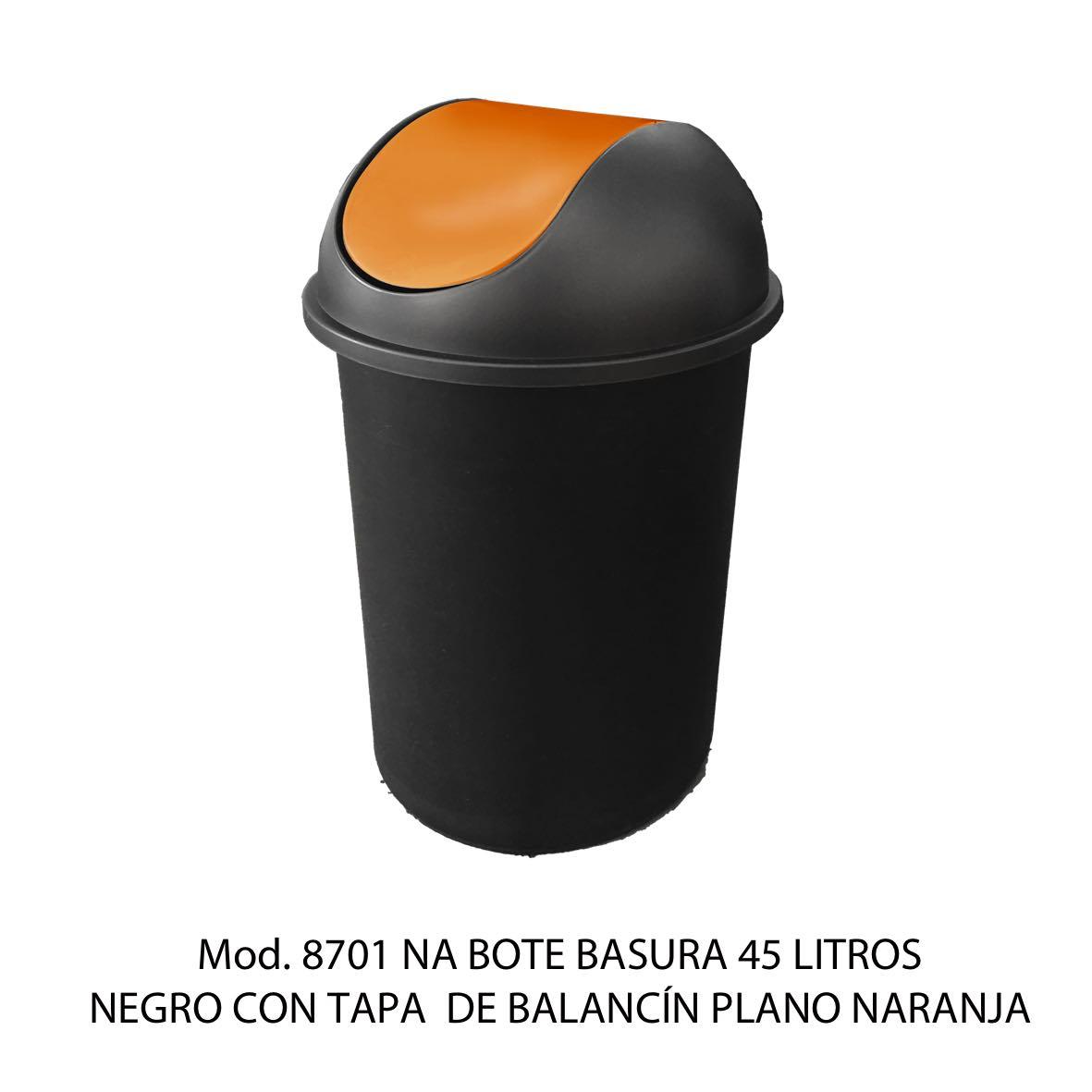 Bote de basura redondo negro de 45 litros con tapa naranja tipo balancín liso modelo 8701 NA Sablón