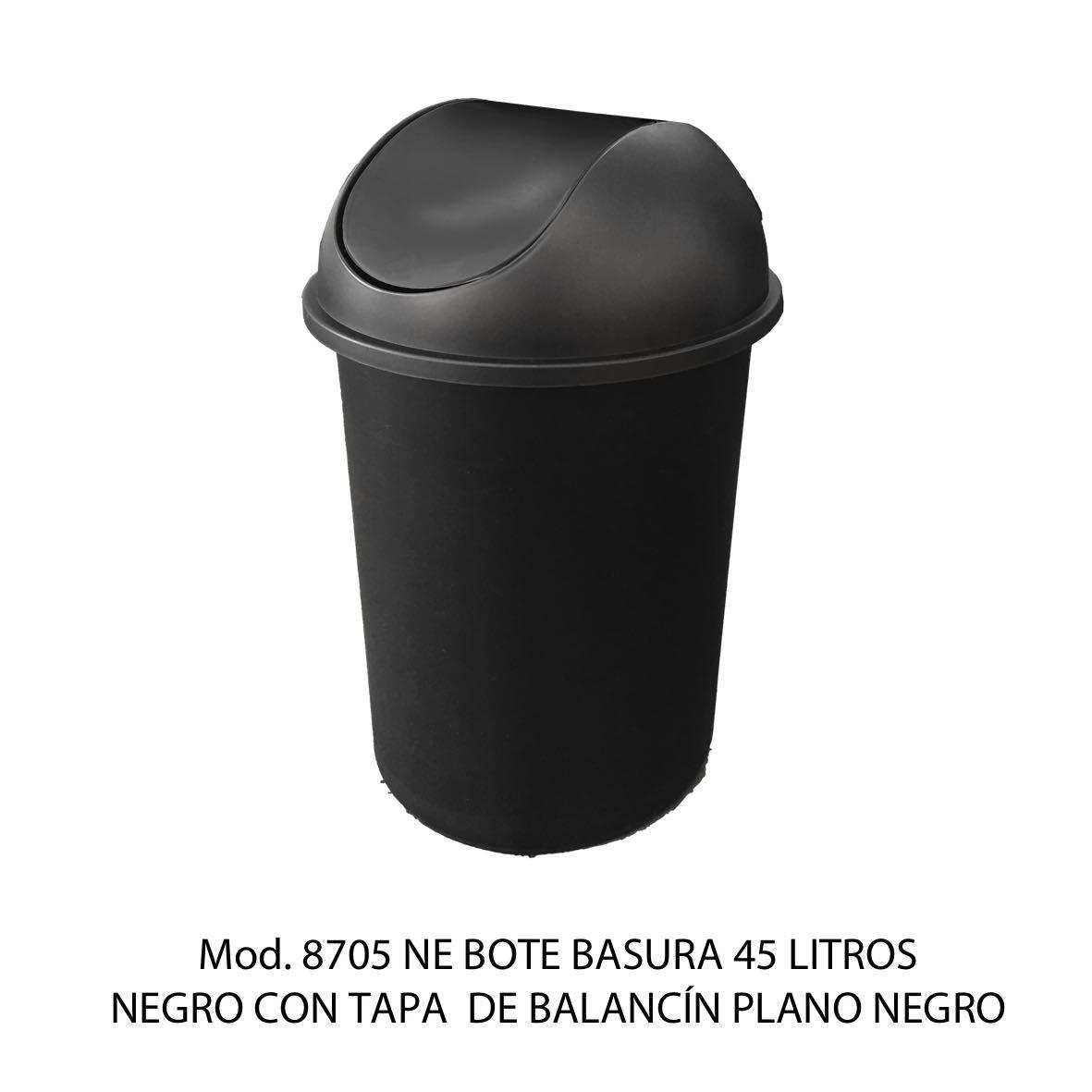 Bote de basura redondo negro de 45 litros con tapa negro tipo balancín liso modelo 8705 NE Sablón