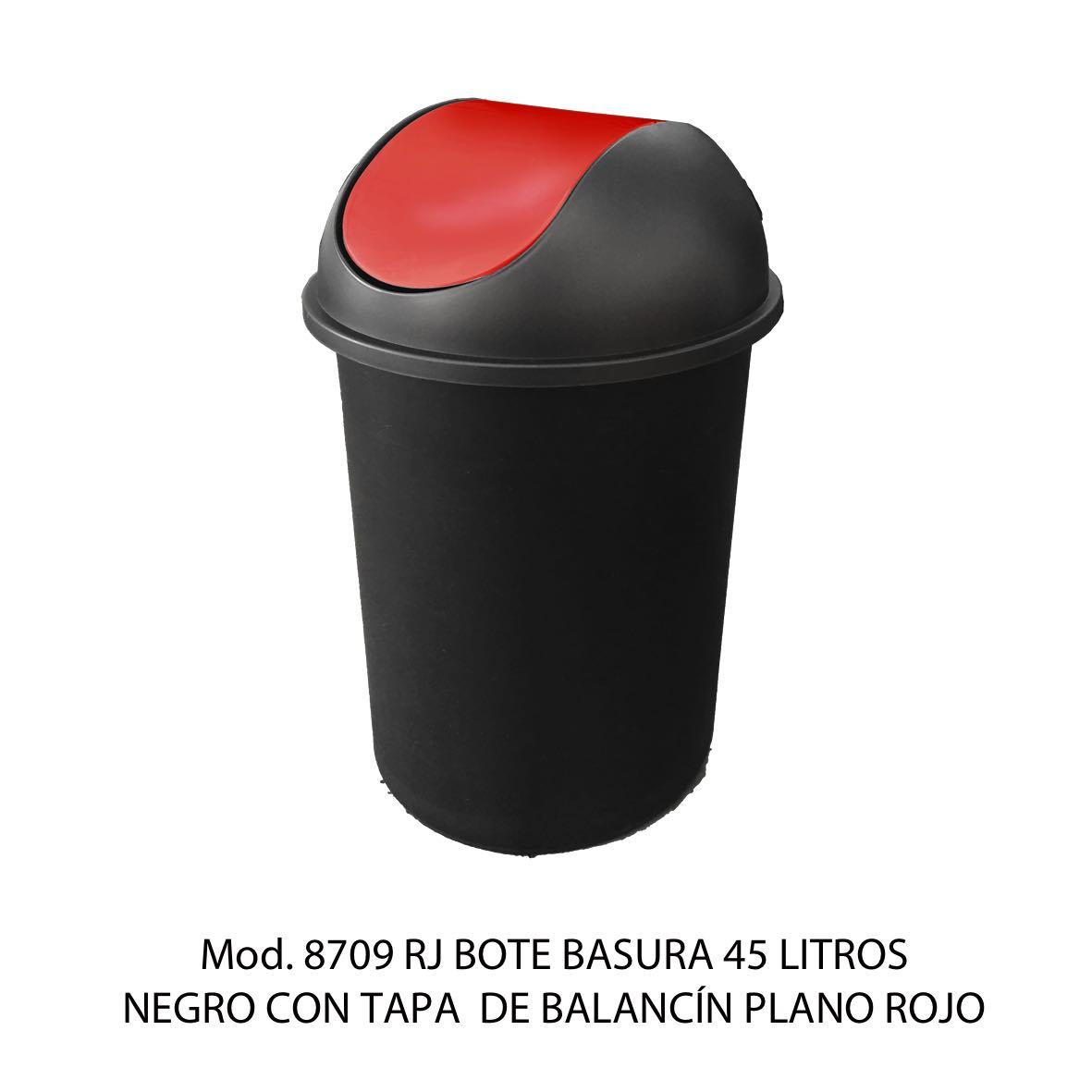 Bote de basura redondo negro de 45 litros con tapa rojo tipo balancín liso modelo 8709 RJ Sablón