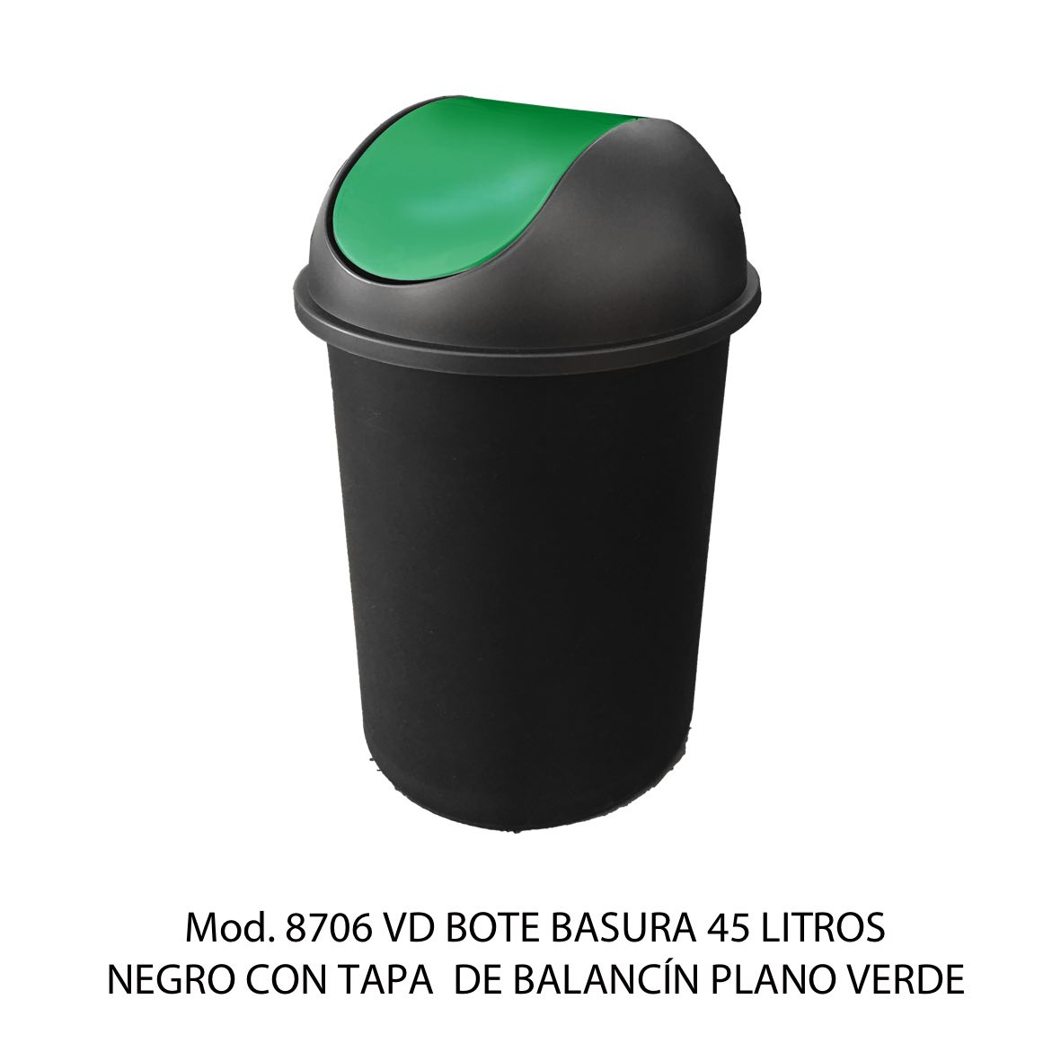 Bote de basura redondo negro de 45 litros con tapa verde tipo balancín liso modelo 8706 VD Sablón