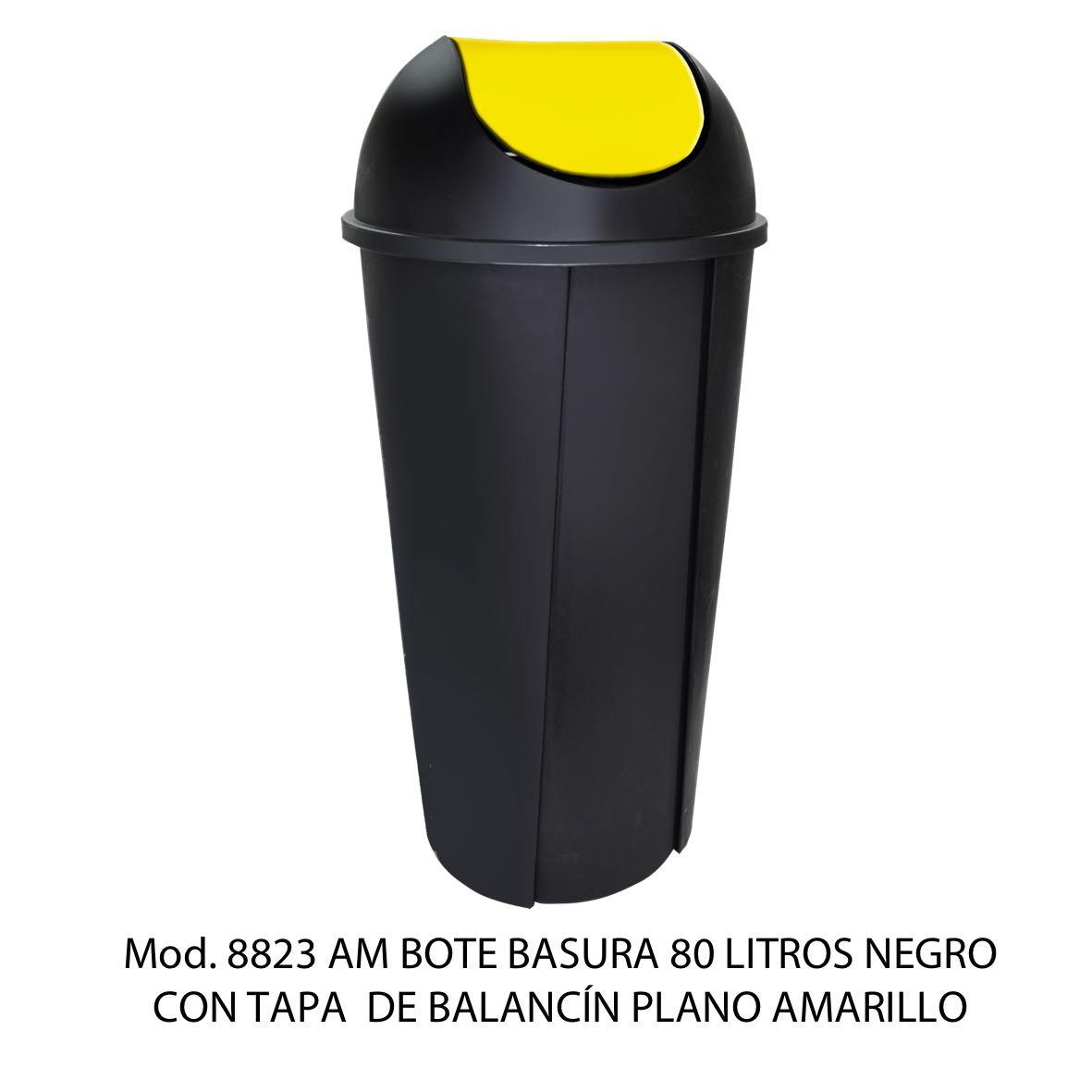 Bote de basura redondo negro de 80 litros con tapa amarillo tipo balancín liso modelo 8713 AM Sablón