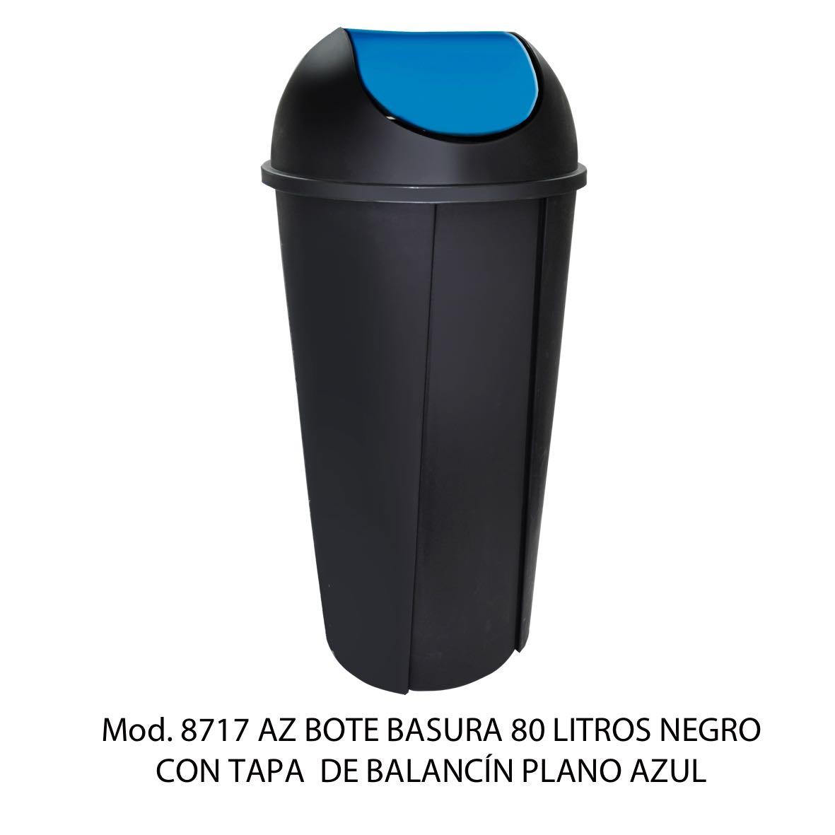 Bote de basura redondo negro de 80 litros con tapa azul tipo balancín liso modelo 8717 AZ Sablón