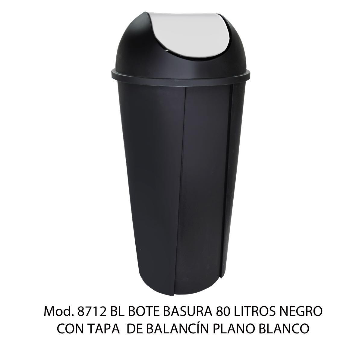 Bote de basura redondo negro de 80 litros con tapa blanco tipo balancín liso modelo 8712 BL Sablón
