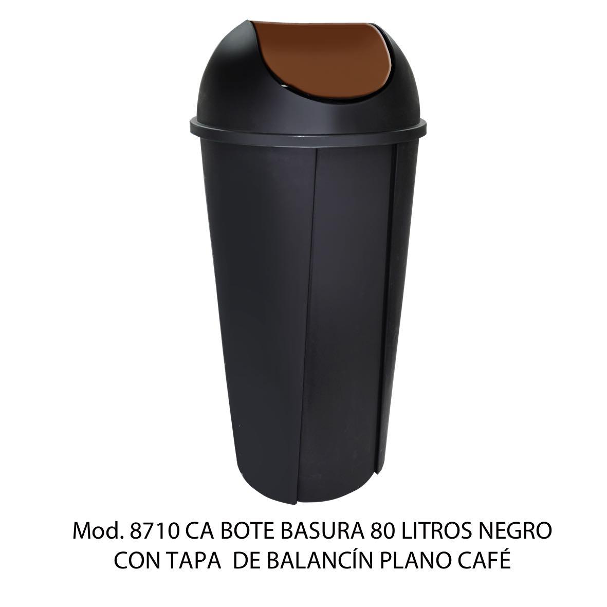 Bote de basura redondo negro de 80 litros con tapa cafe tipo balancín liso modelo 8710 CA Sablón