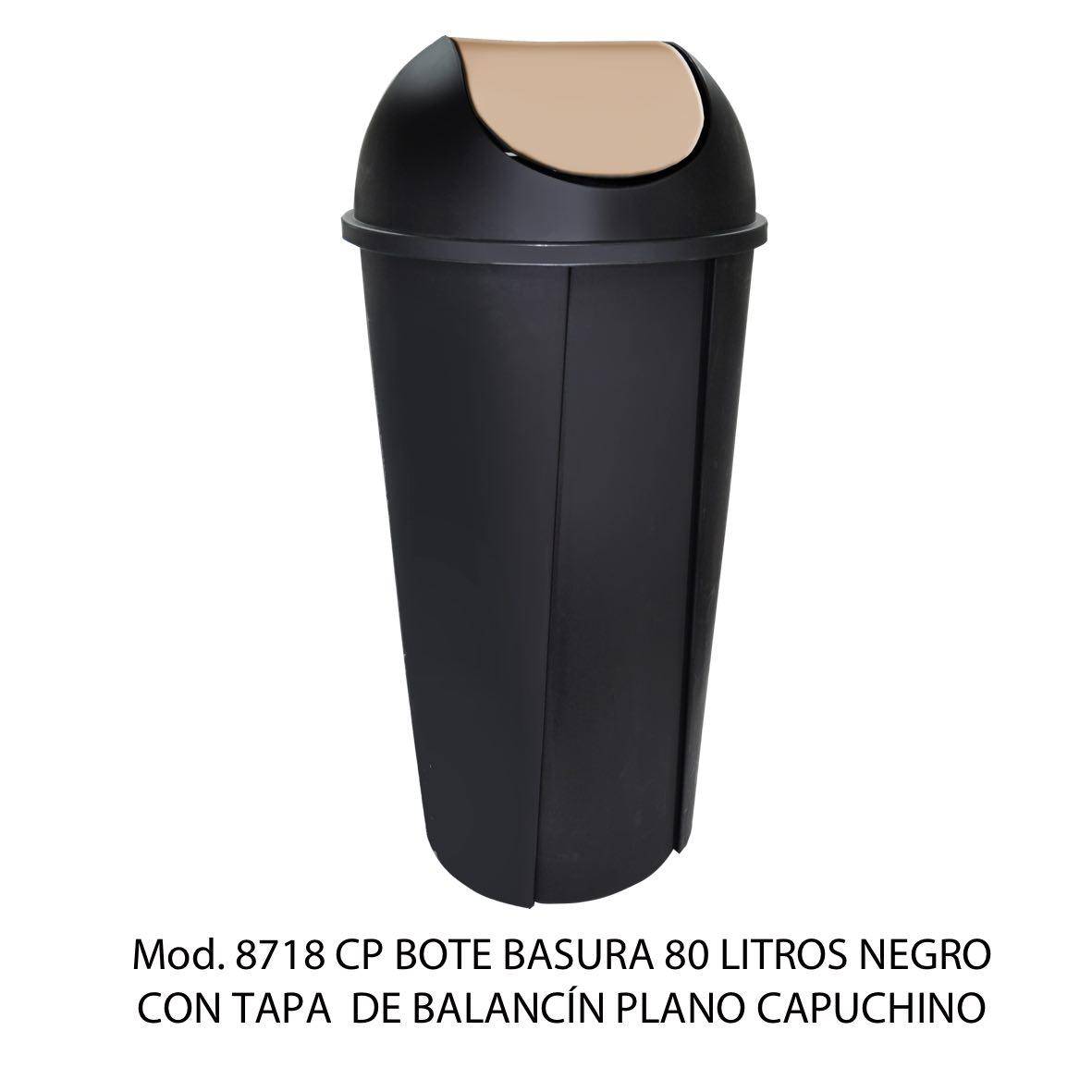 Bote de basura redondo negro de 80 litros con tapa capuchino tipo balancín liso modelo 8718 CP Sablón