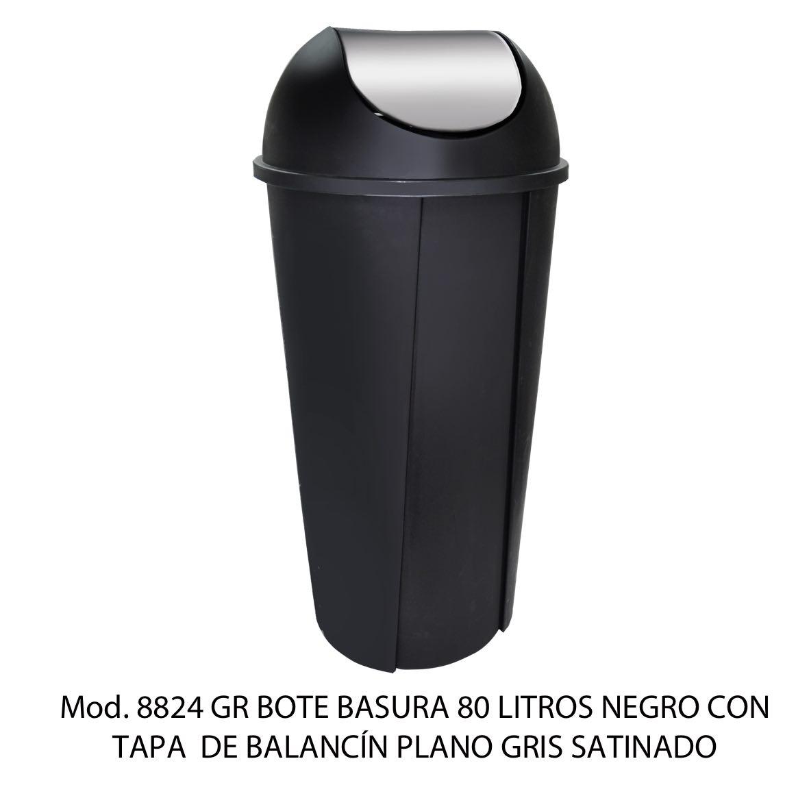Bote de basura redondo negro de 80 litros con tapa gris satinado tipo balancín liso modelo 8824 GR Sablón
