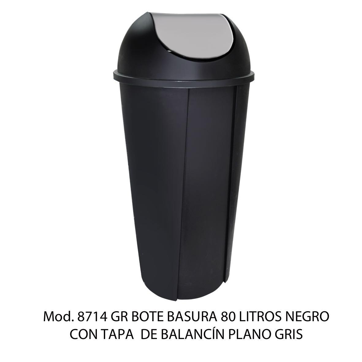 Bote de basura redondo negro de 80 litros con tapa gris tipo balancín liso modelo 8714 GR Sablón