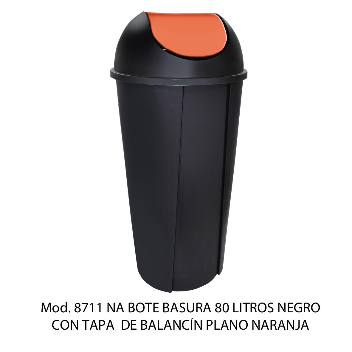 Bote de basura redondo negro de 80 litros con tapa naranja tipo balancín liso modelo 8711 NA Sablón