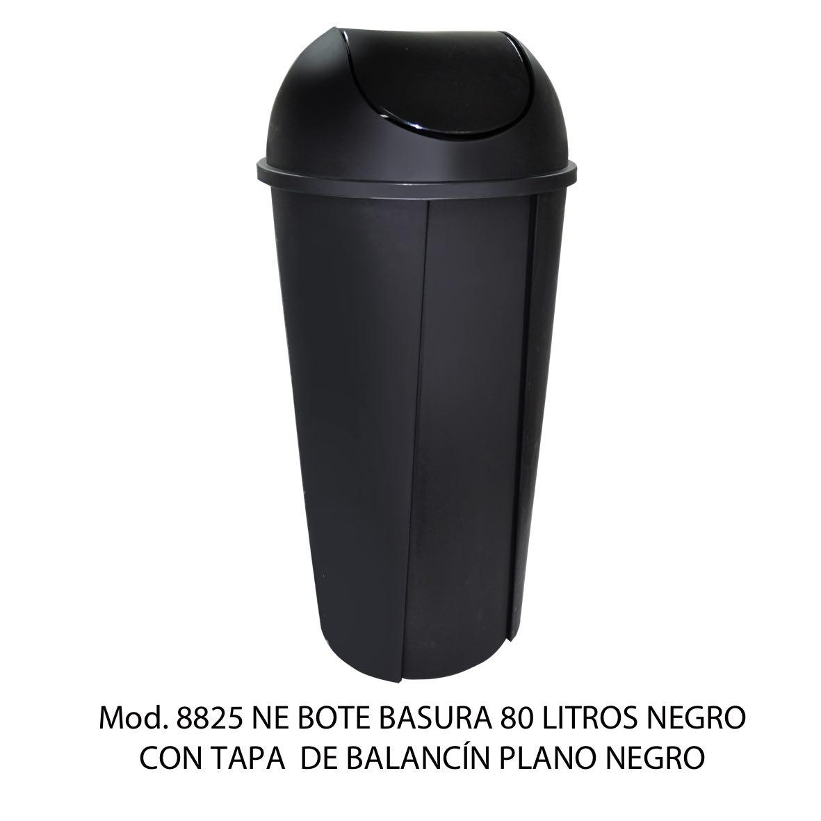 Bote de basura redondo negro de 80 litros con tapa negro tipo balancín liso modelo 8715 NE Sablón
