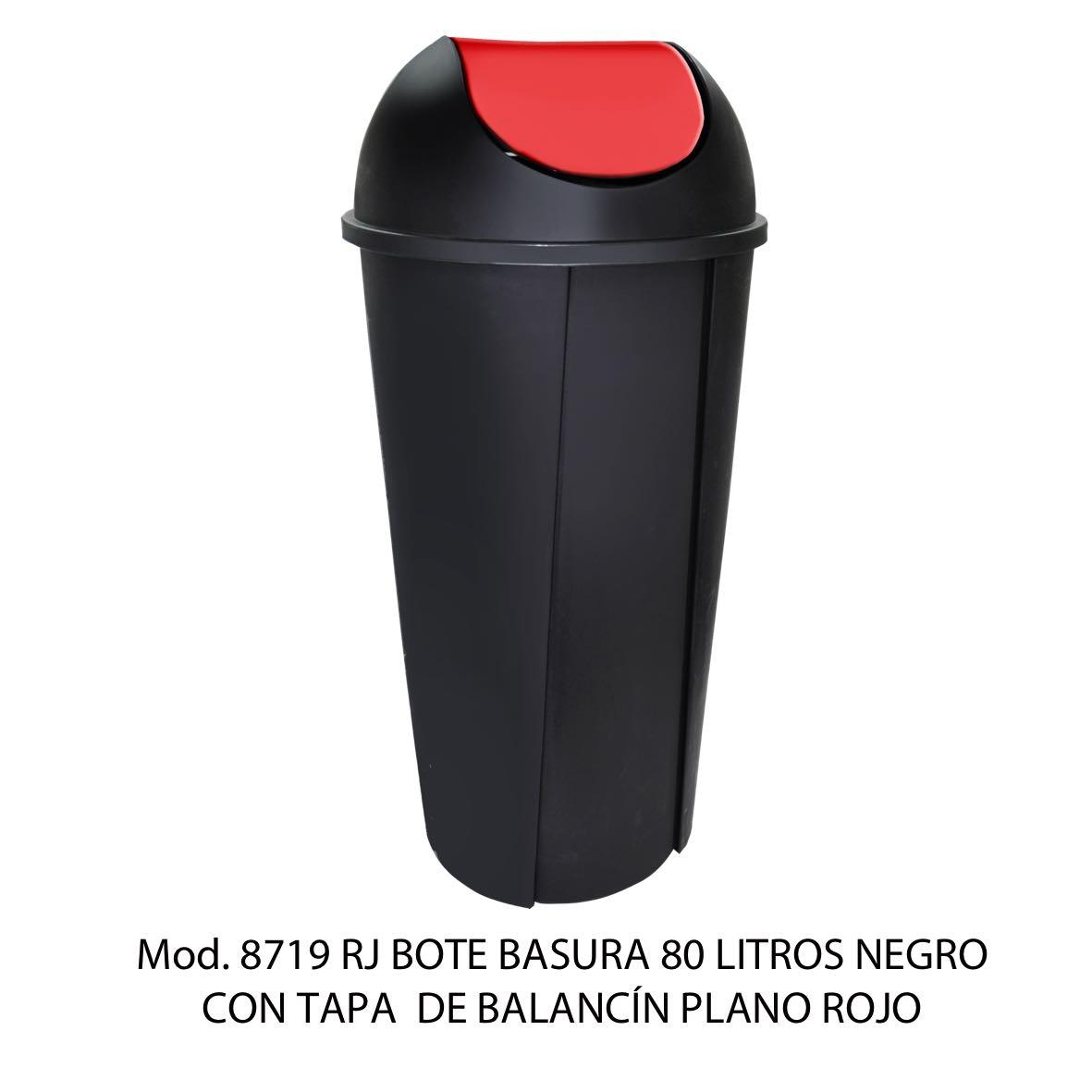 Bote de basura redondo negro de 80 litros con tapa rojo tipo balancín liso modelo 8719 RJ Sablón