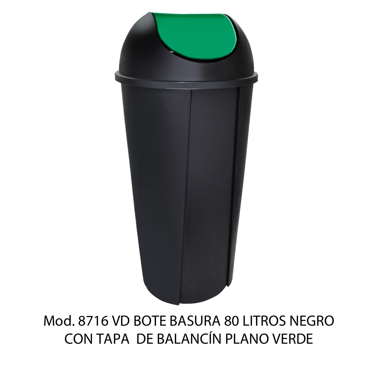 Bote de basura redondo negro de 80 litros con tapa verde tipo balancín liso modelo 8716 VD Sablón