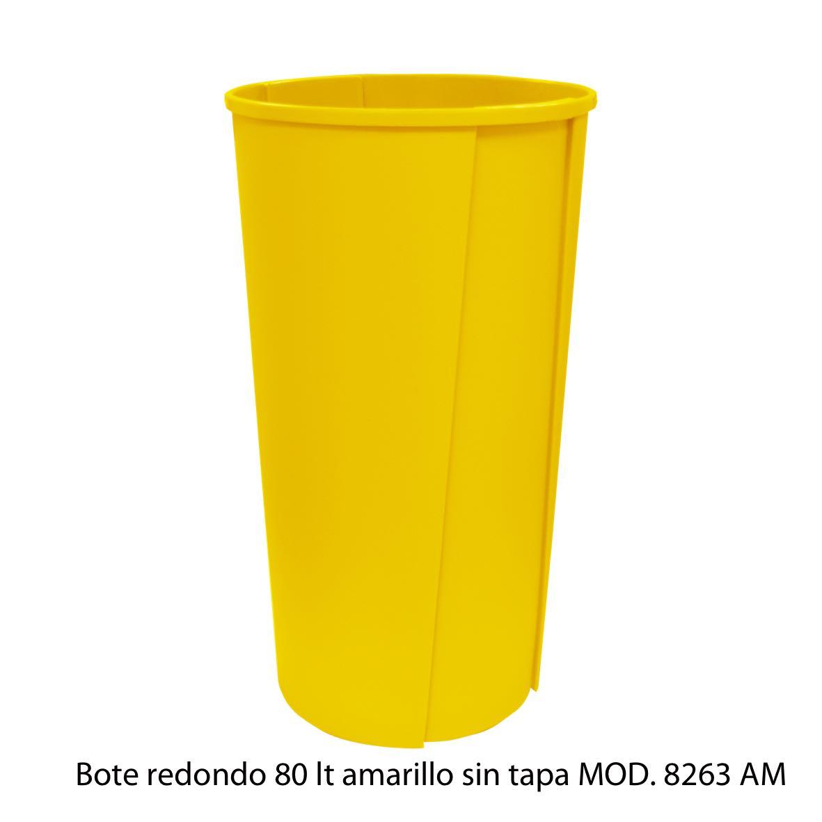 Bote de basura redondo sin tapa de 80 litros amarillo modelo 8263 AM Sablón