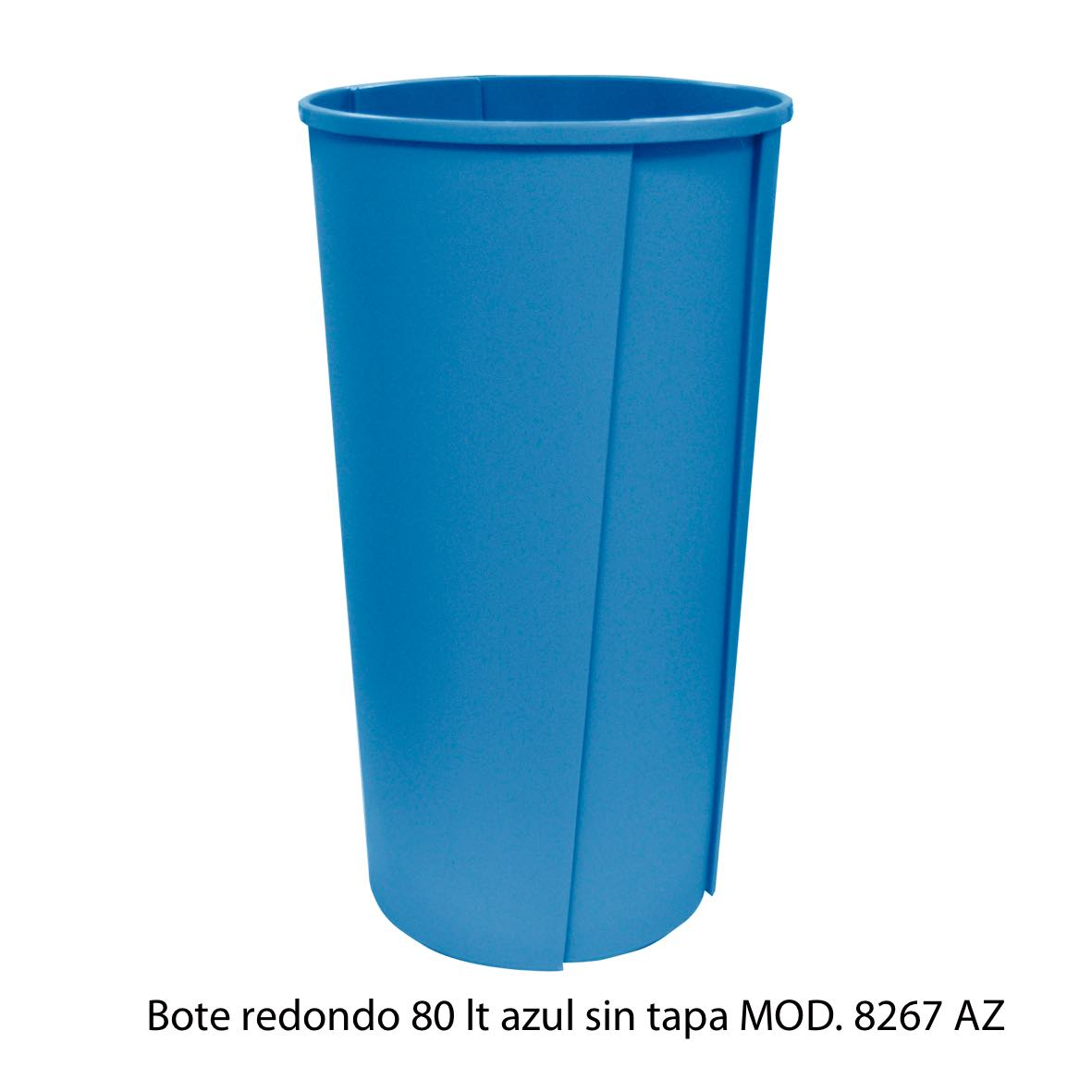 Bote de basura redondo sin tapa de 80 litros azul modelo 8267 AZ Sablón