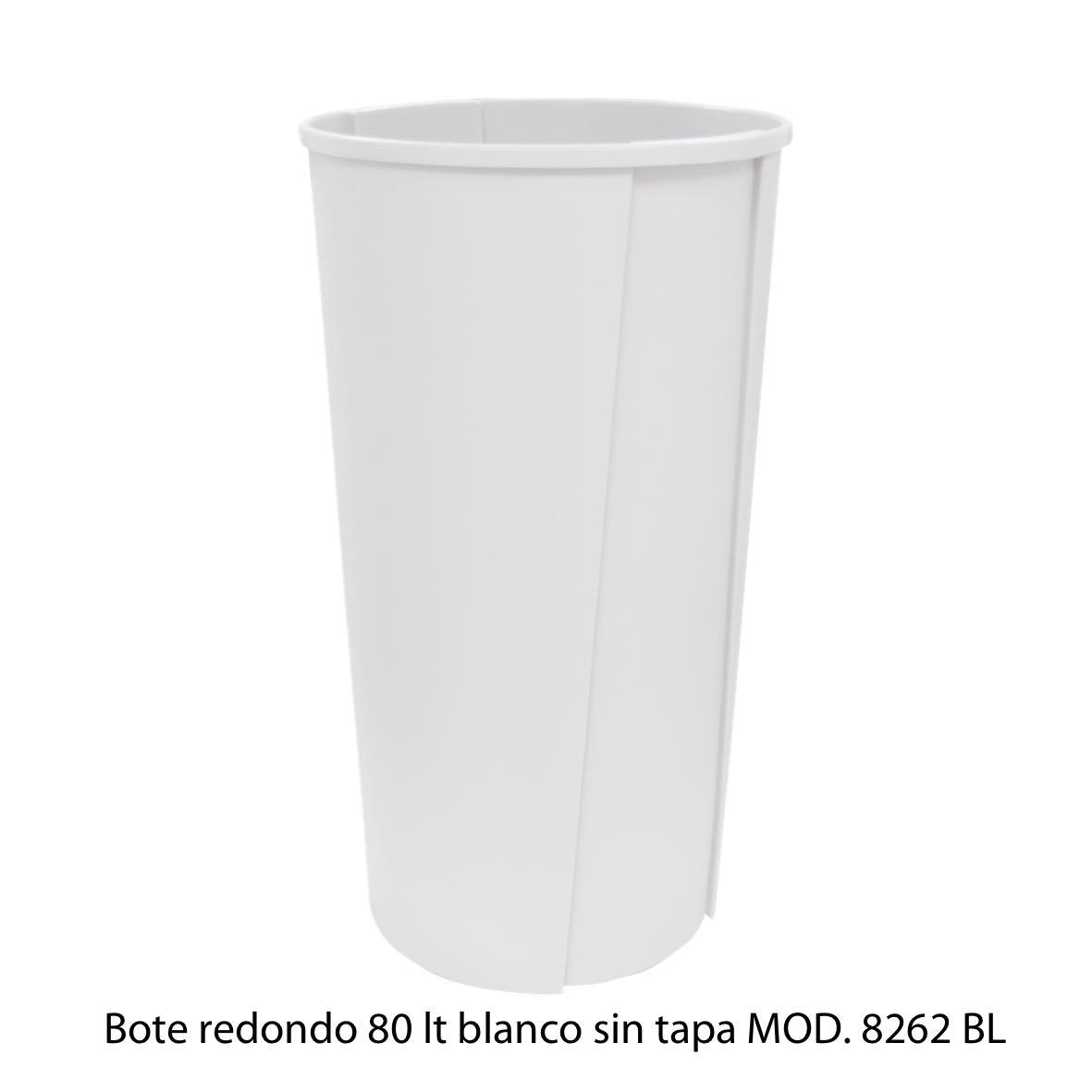 Bote de basura redondo sin tapa de 80 litros blanco modelo 8262 BL Sablón