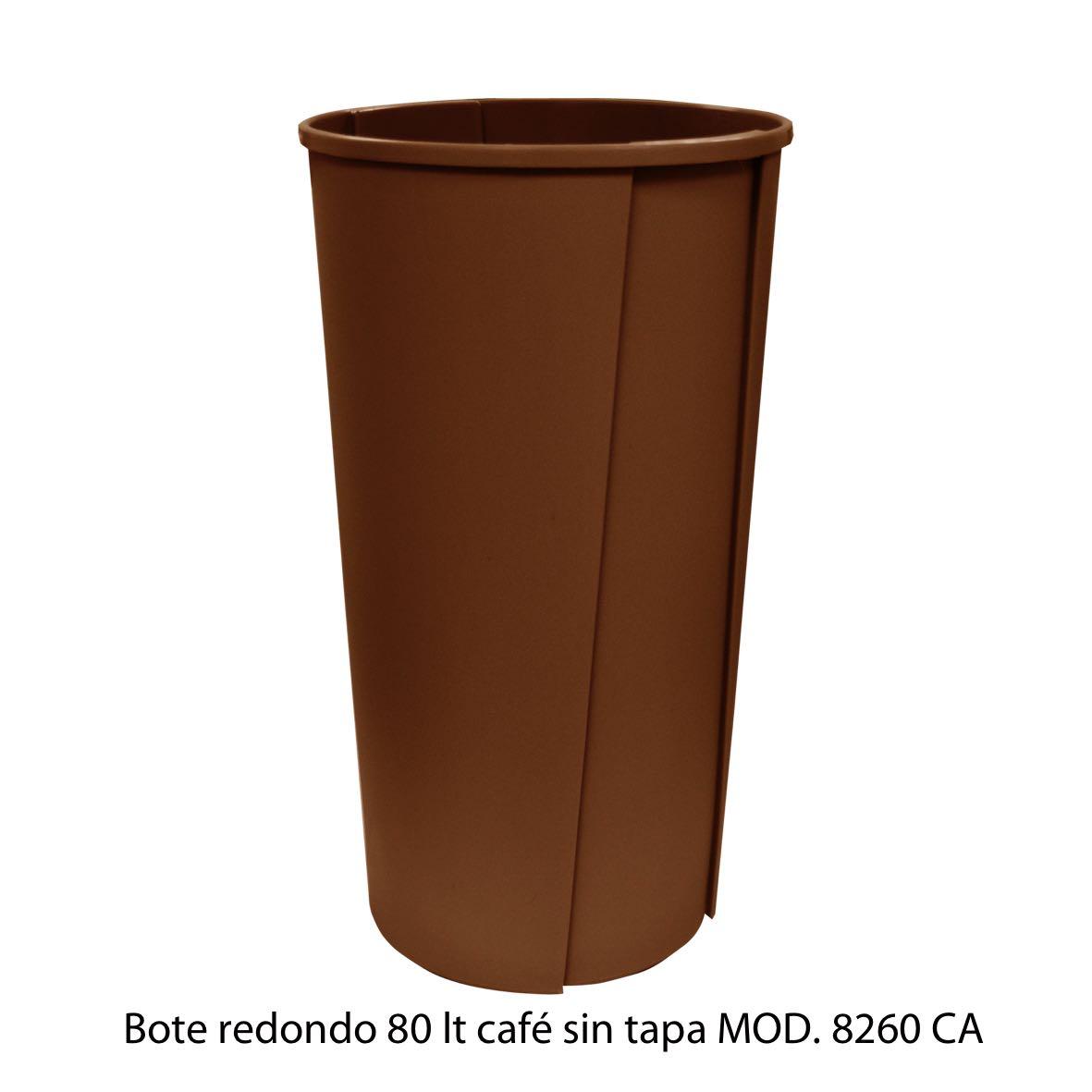 Bote de basura redondo sin tapa de 80 litros cafe modelo 8260 CA Sablón