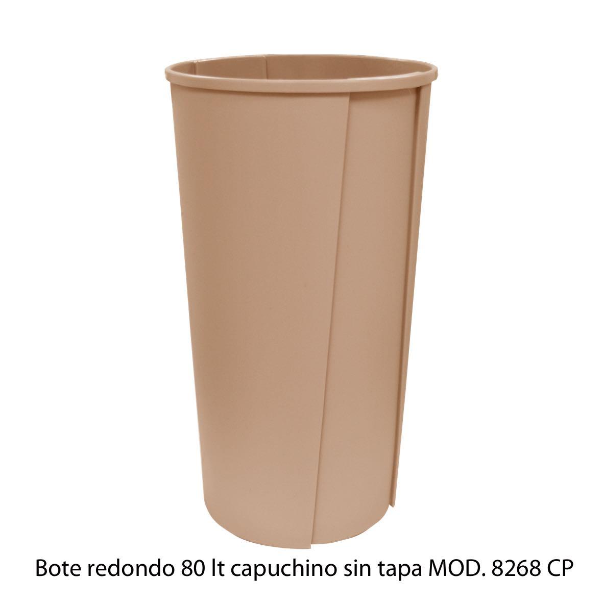 Bote de basura redondo sin tapa de 80 litros capuchino modelo 8268 CP Sablón