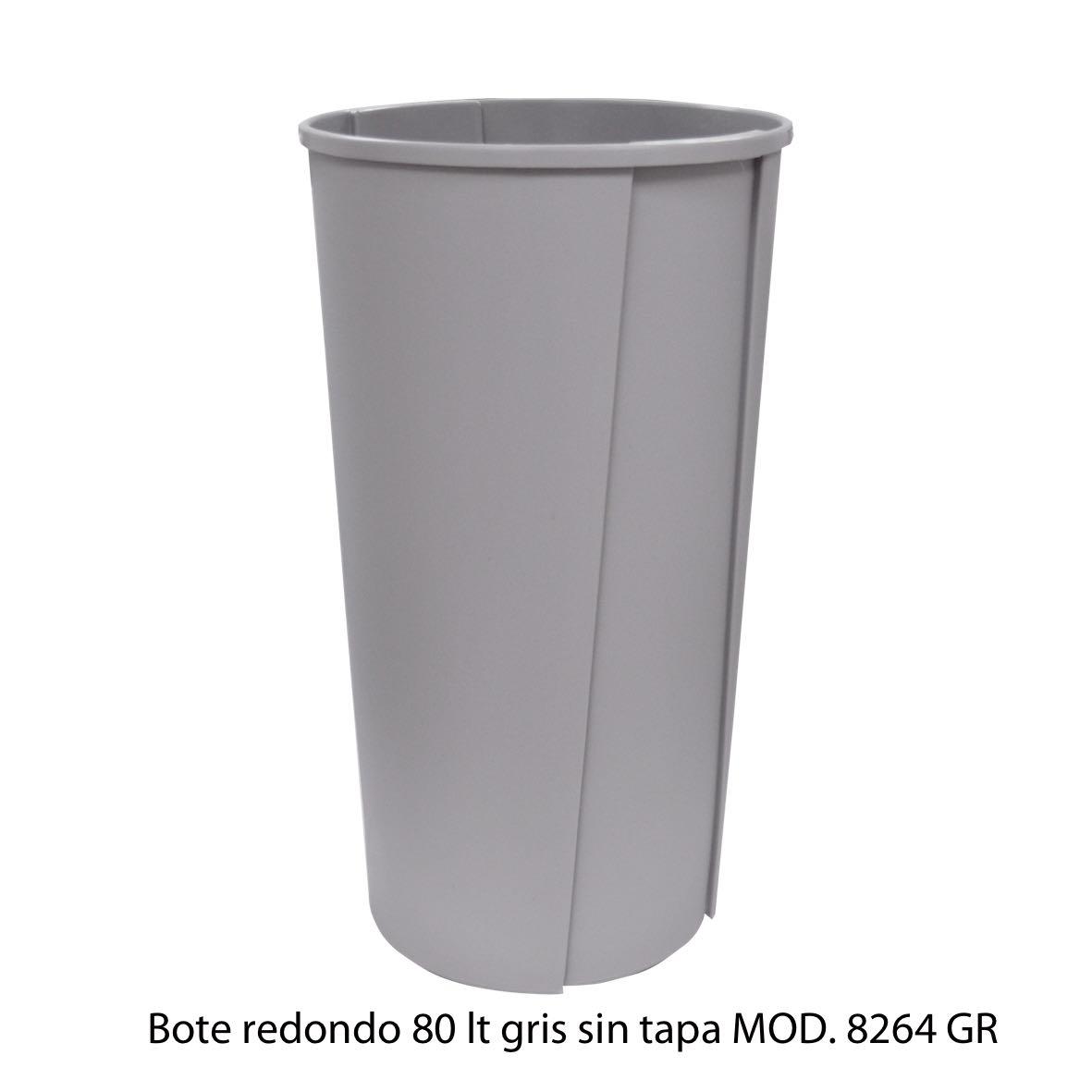 Bote de basura redondo sin tapa de 80 litros gris modelo 8264 GR Sablón