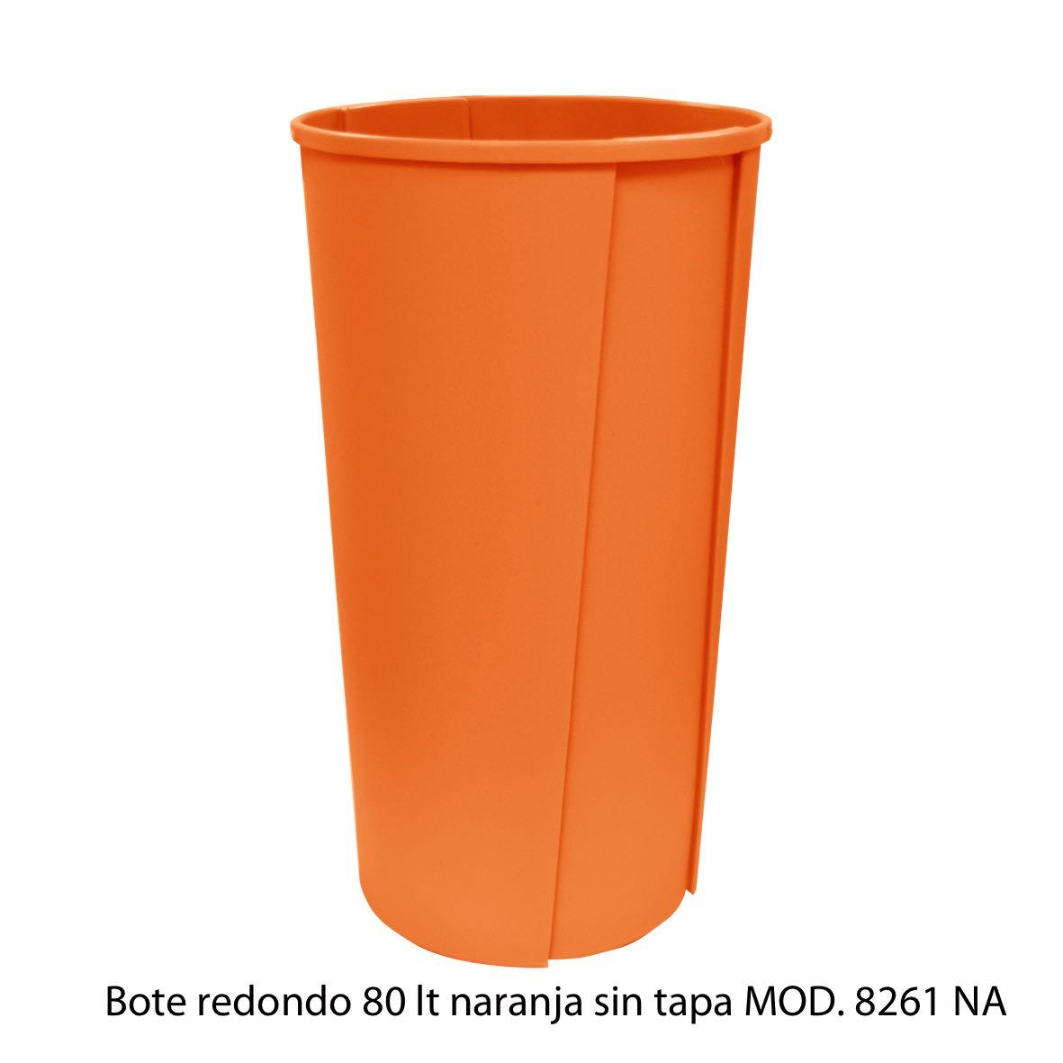 Bote de basura redondo sin tapa de 80 litros naranja modelo 8261 NA Sablón
