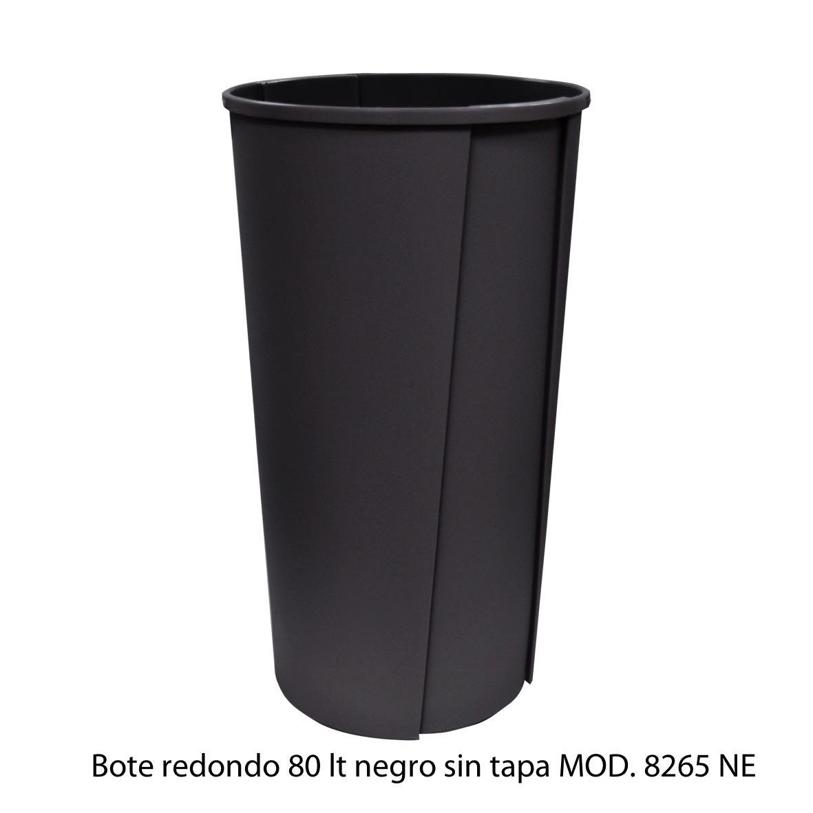 Bote de basura redondo sin tapa de 80 litros negro modelo 8265 NE Sablón