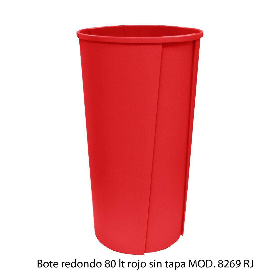 Bote de basura redondo sin tapa de 80 litros rojo modelo 8269 RJ Sablón