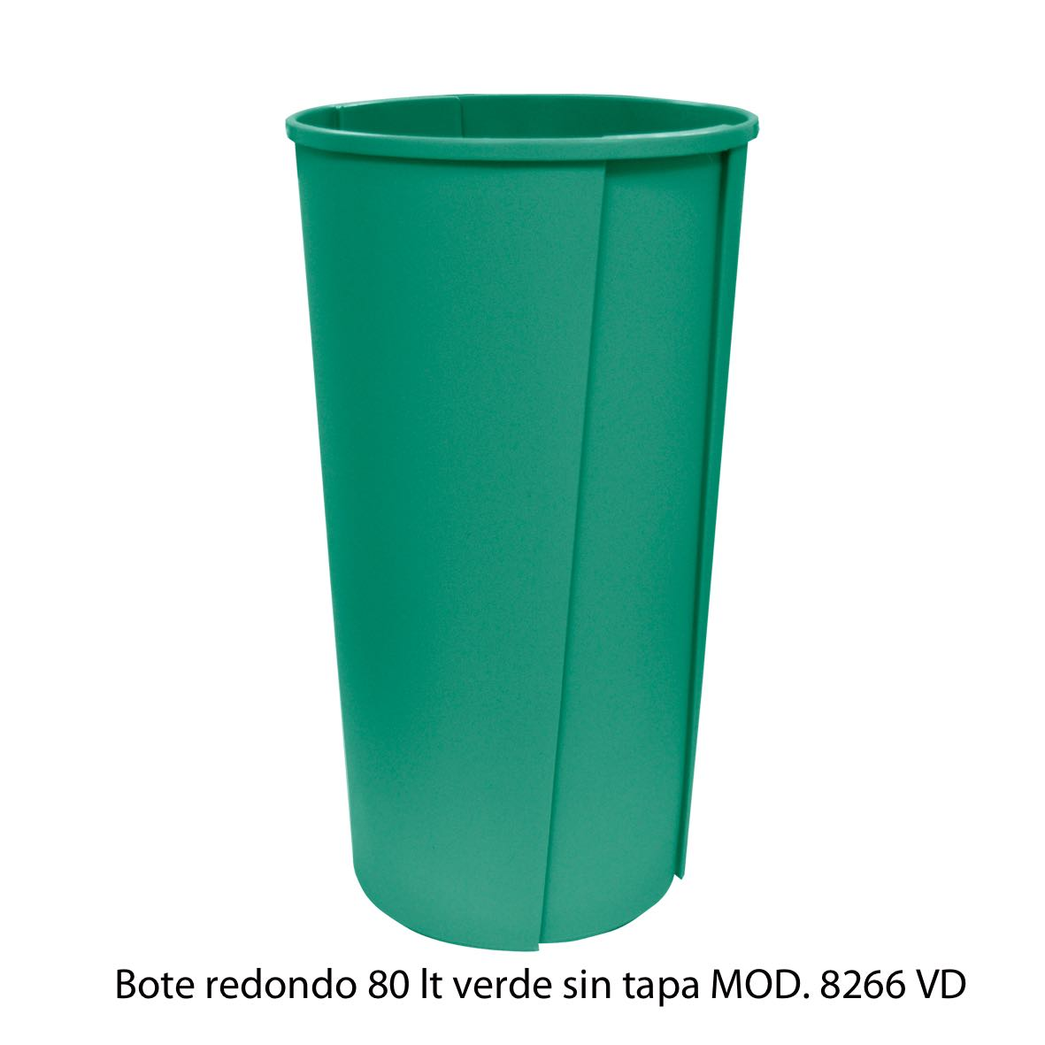Bote de basura redondo sin tapa de 80 litros verde modelo 8266 VD Sablón