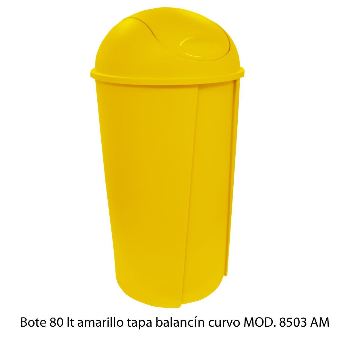 Bote de bausra de 80 litros con tapa balancín curvo color amarillo modelo 8503 AM Sablón