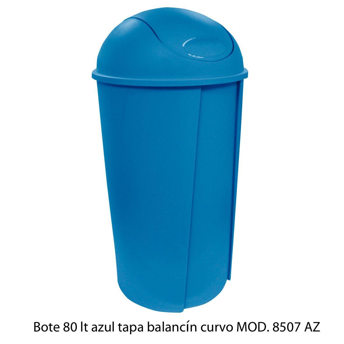 Bote de bausra de 80 litros con tapa balancín curvo color azul modelo 8507 AZ Sablón