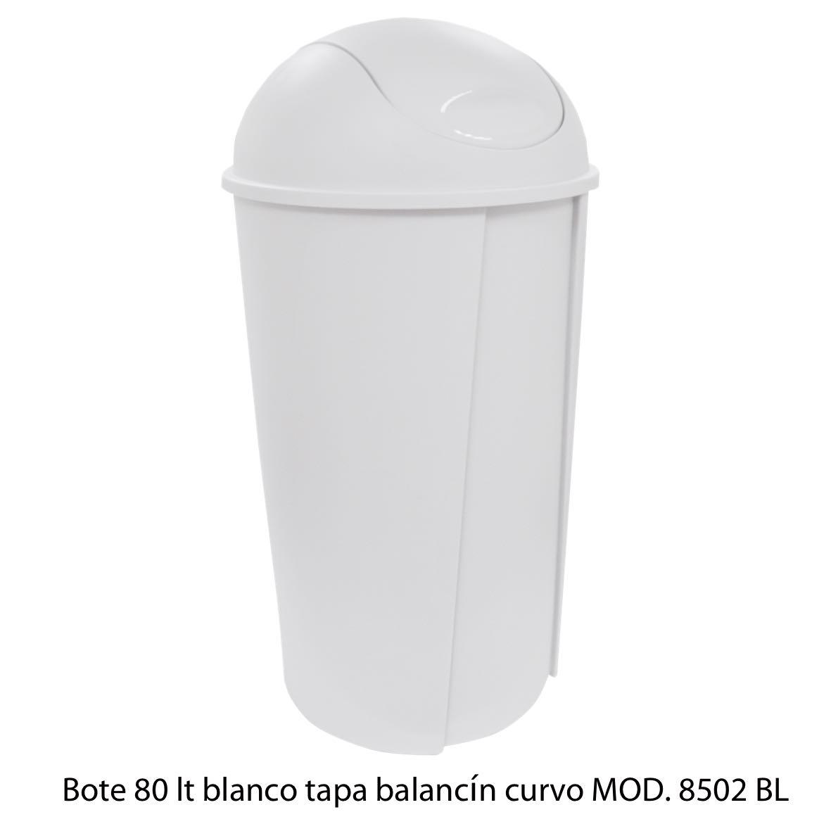 Bote de bausra de 80 litros con tapa balancín curvo color blanco modelo 8502 BL Sablón