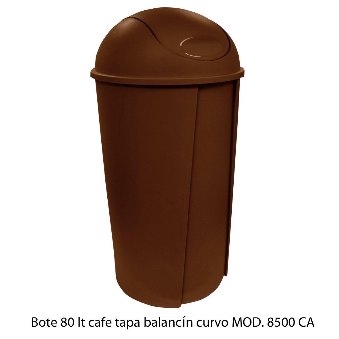Bote de bausra de 80 litros con tapa balancín curvo color café modelo 8500 CA Sablón