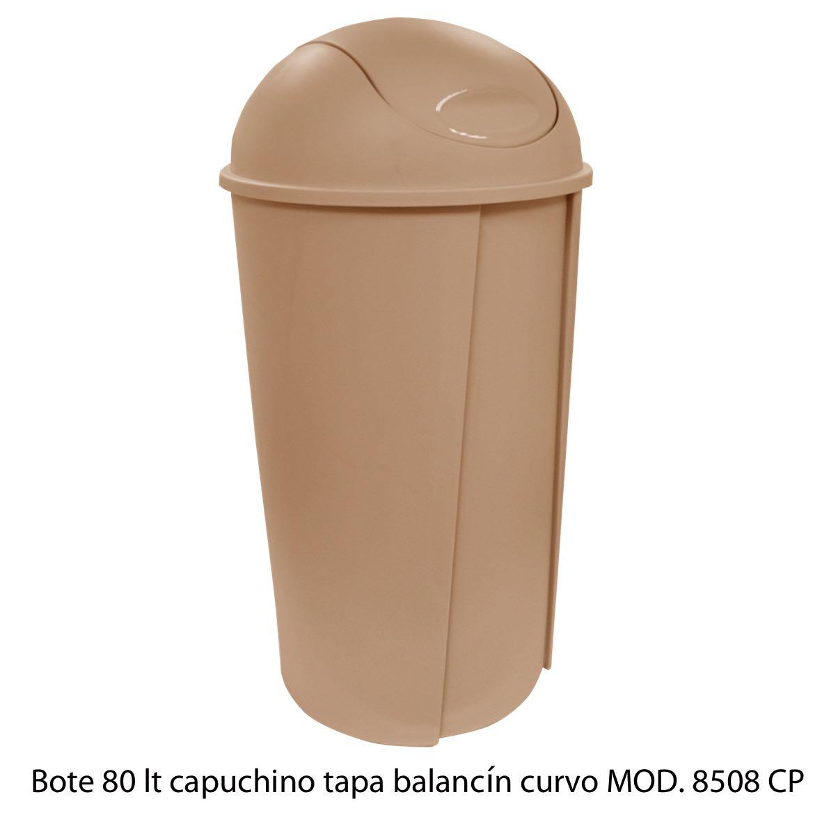Bote de bausra de 80 litros con tapa balancín curvo color capuchino modelo 8508 CP Sablón