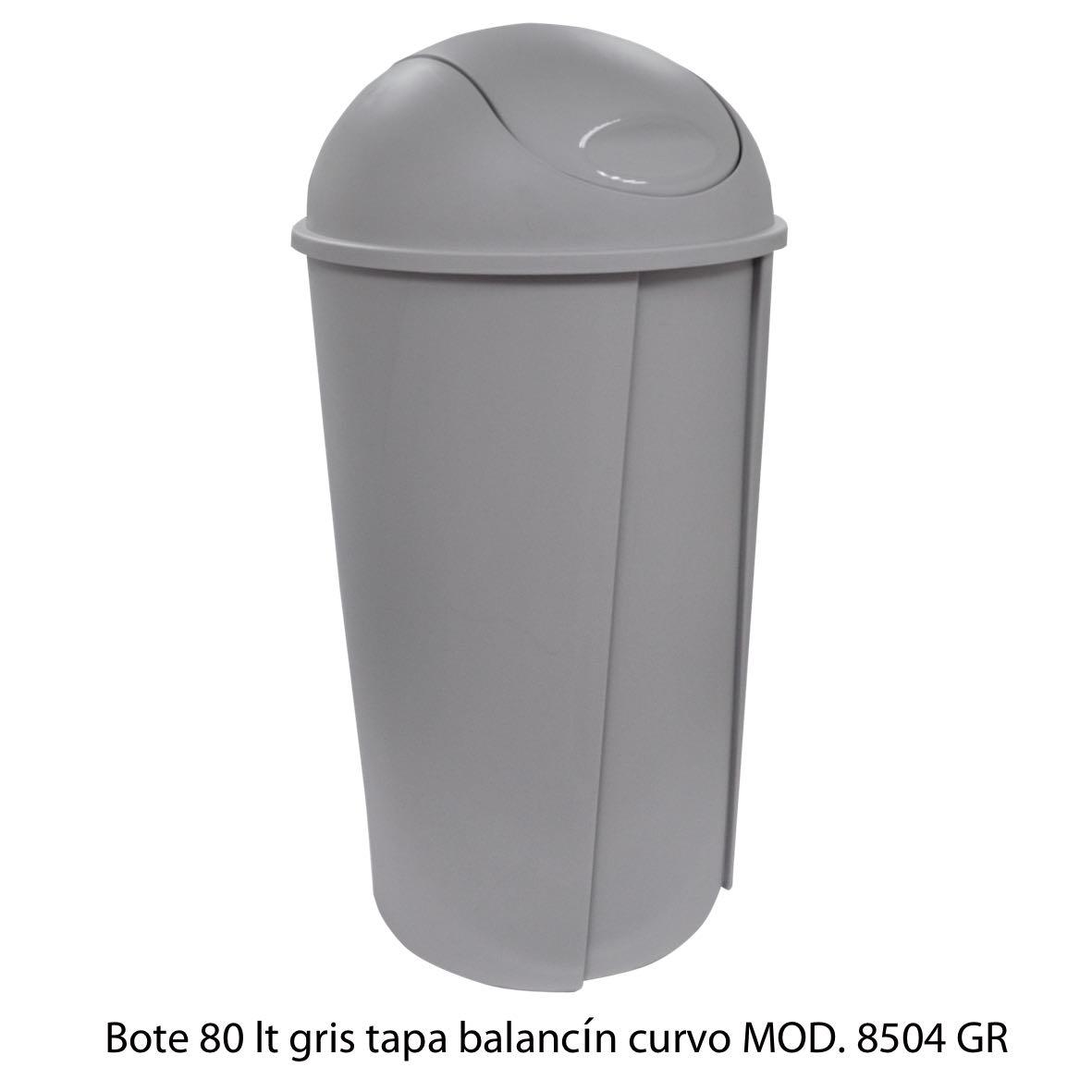 Bote de bausra de 80 litros con tapa balancín curvo color gris modelo 8504 GR Sablón