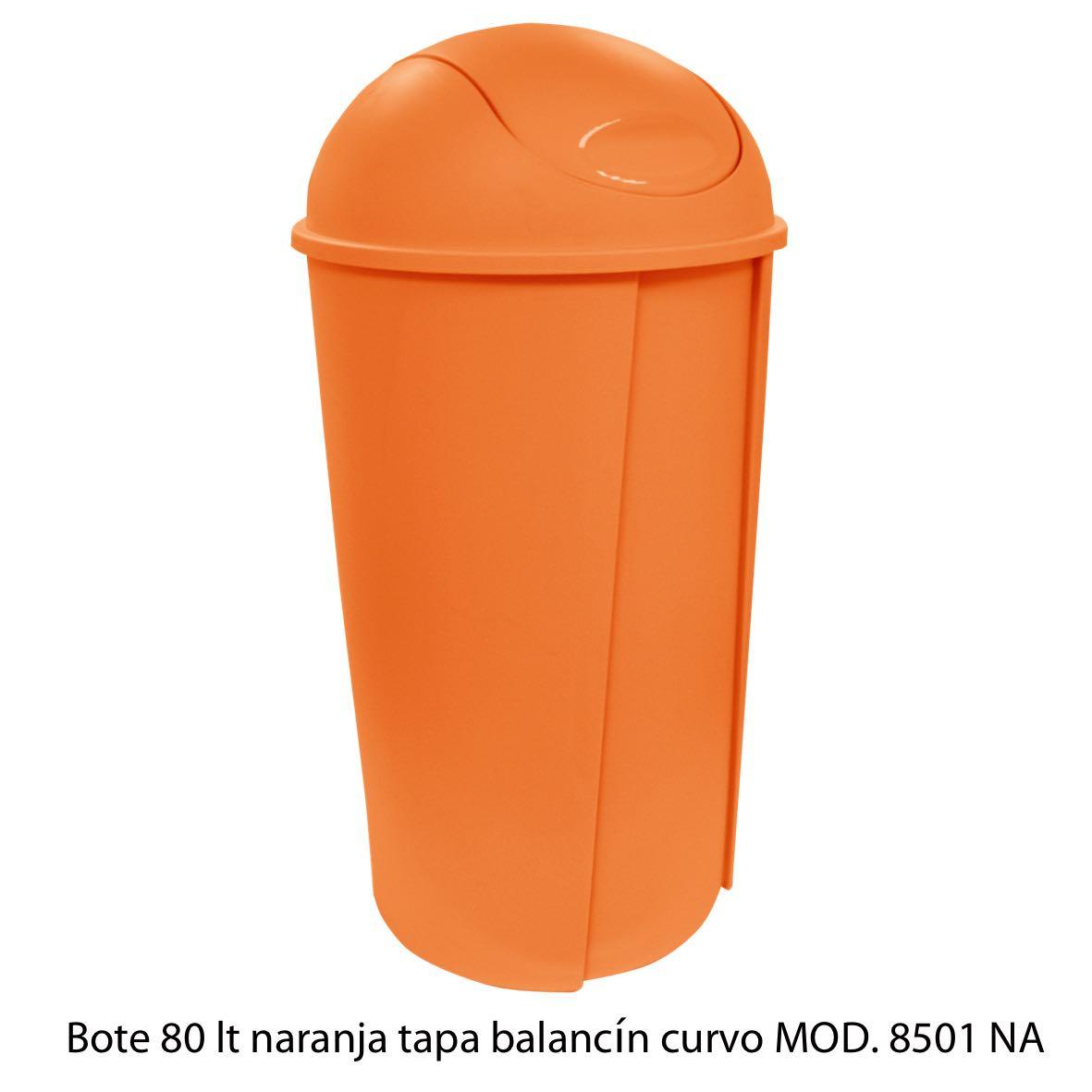 Bote de bausra de 80 litros con tapa balancín curvo color naranja modelo 8501 NA Sablón