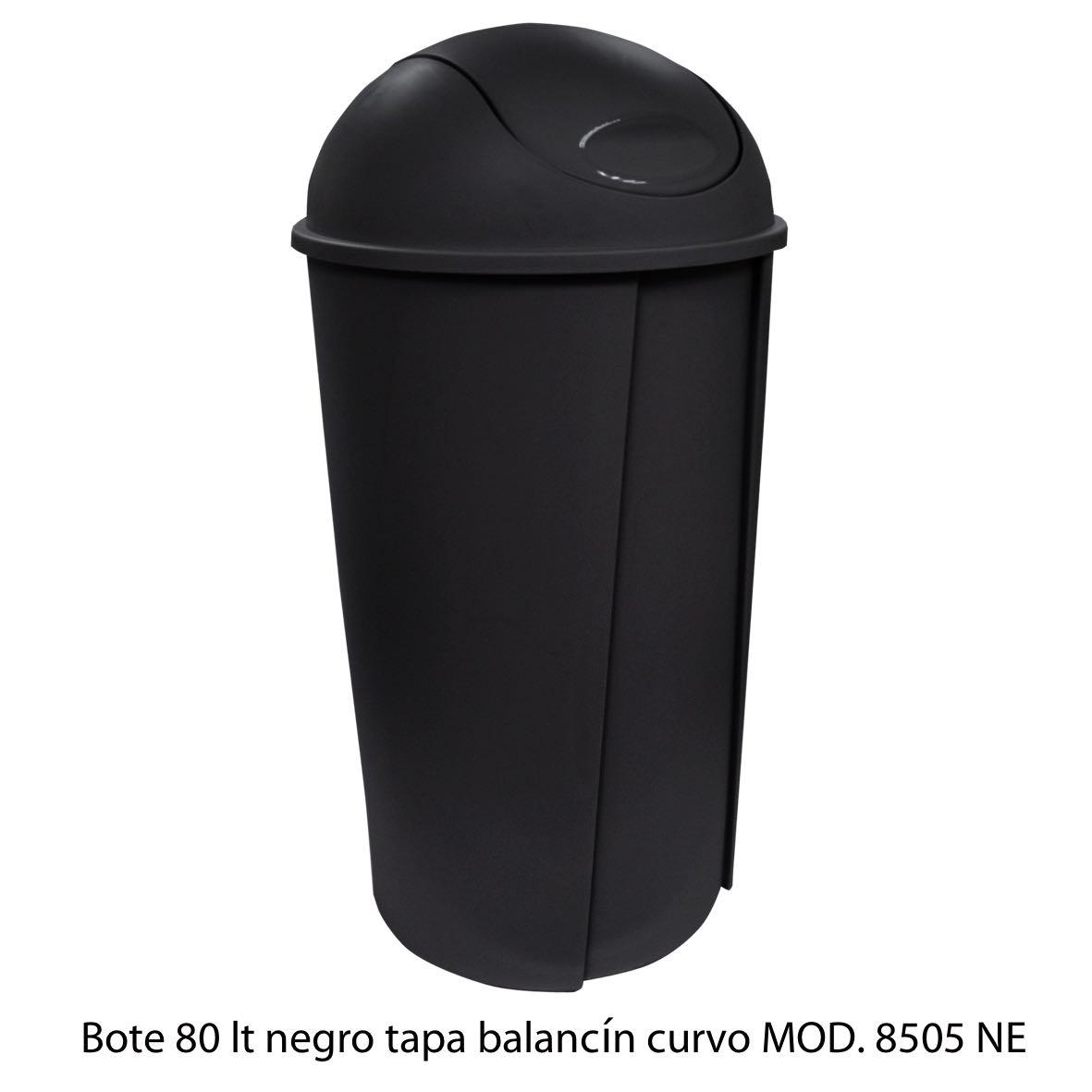Bote de bausra de 80 litros con tapa balancín curvo color negro modelo 8505 NE Sablón