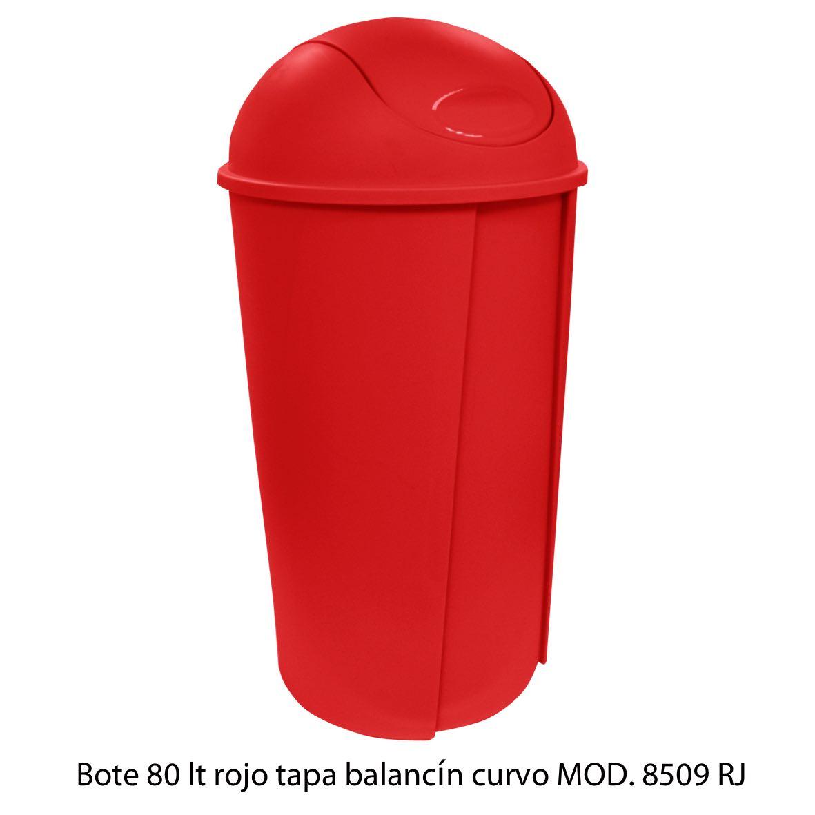 Bote de bausra de 80 litros con tapa balancín curvo color rojo modelo 8509 RJ Sablón