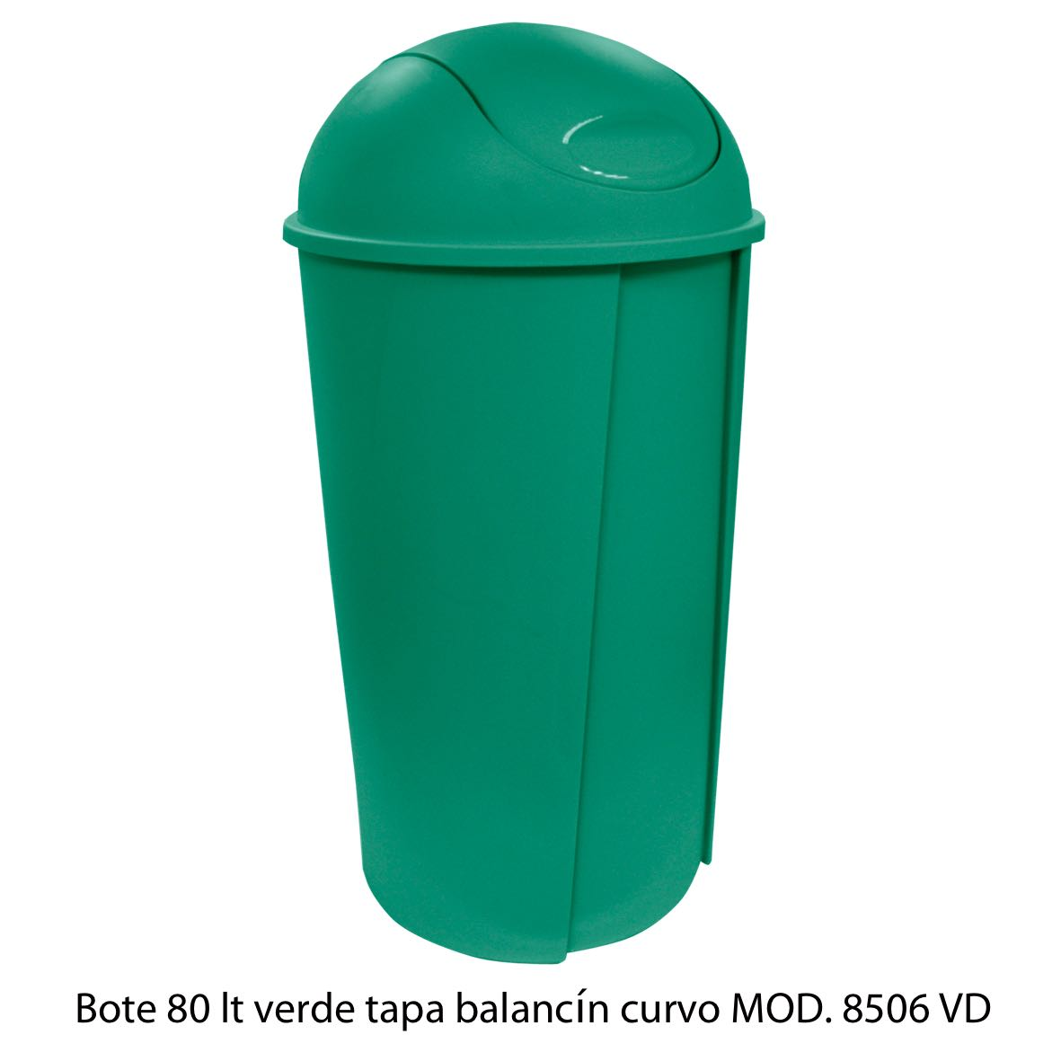 Bote de bausra de 80 litros con tapa balancín curvo color verde modelo 8506 VD Sablón