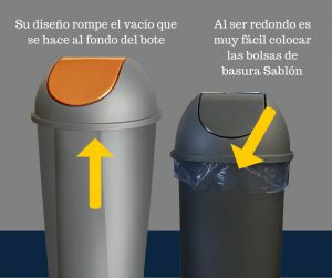 Coloca fácilmente tu bolsa de basura Sablon en cualquiera de nuestros botes redondos Sablón