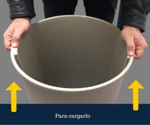 Levanta cómodamente el bote de basura redondo de 80 litros de Sablón